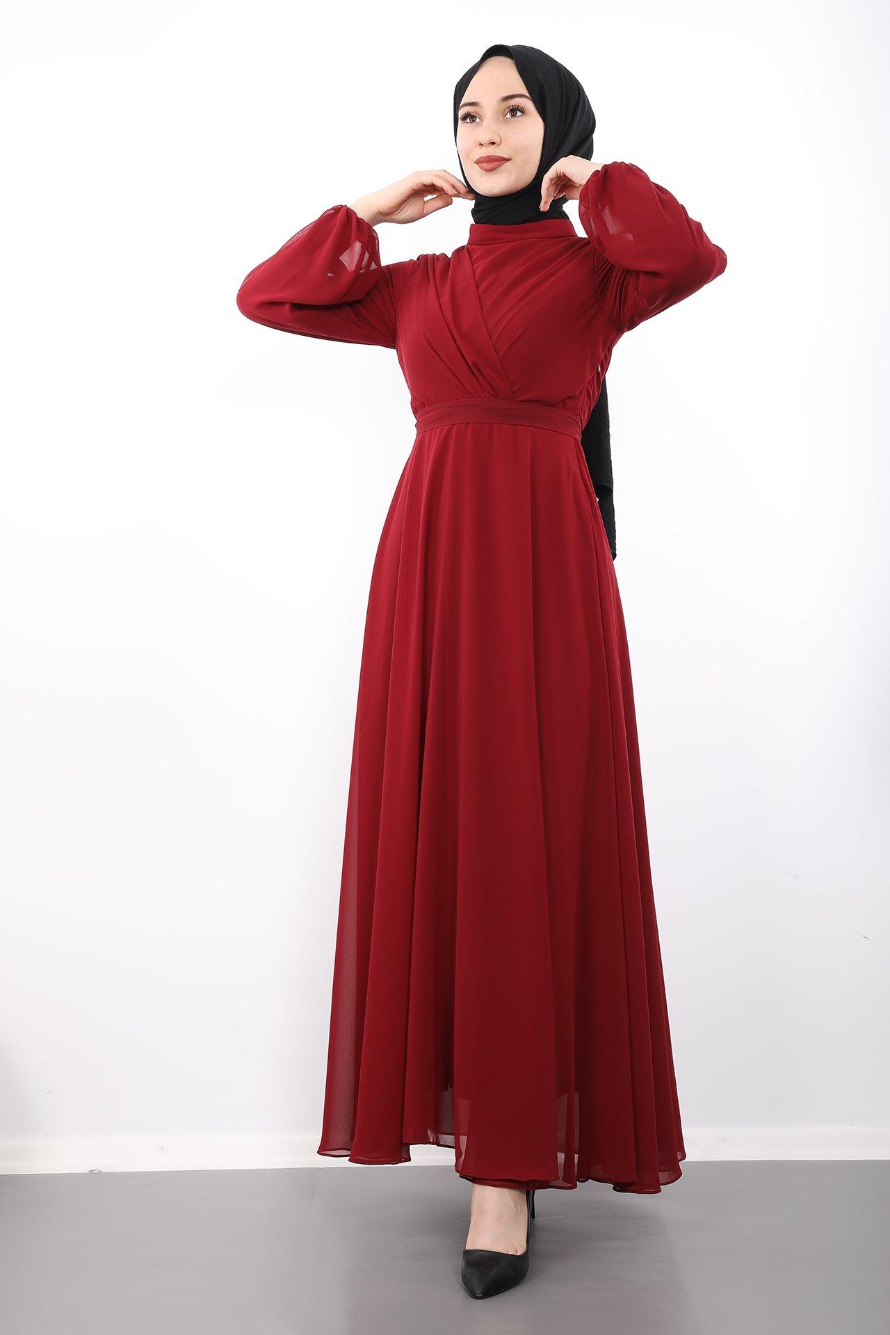 GİZAGİYİM - Önü Çarpraz Şifon Elbise Bordo