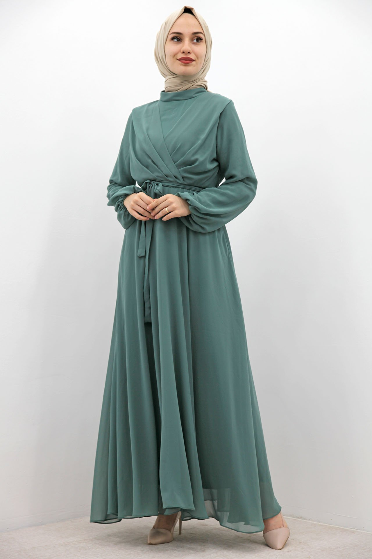 GİZAGİYİM - Önü Çarpraz Şifon Elbise Mint