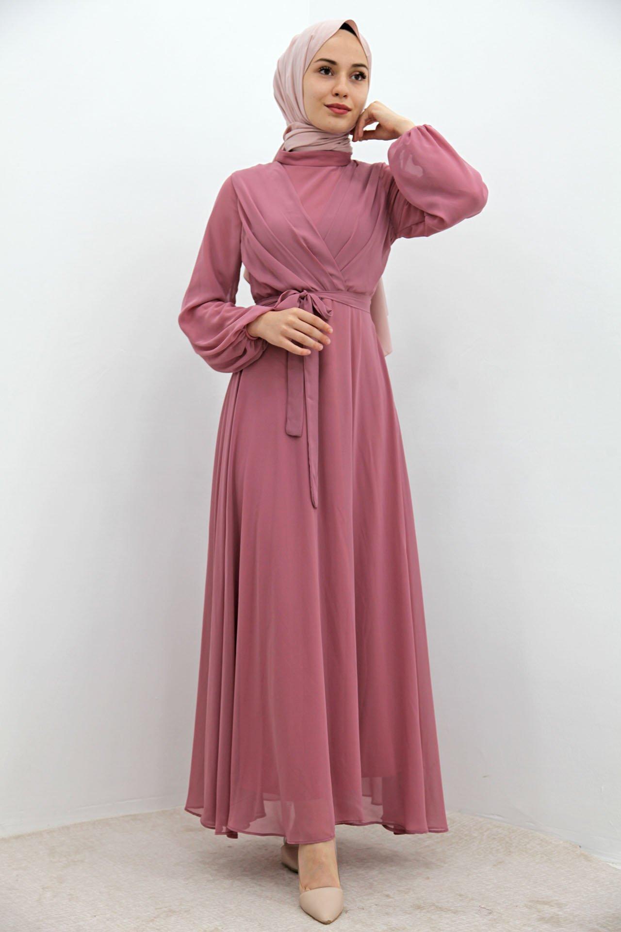 GİZAGİYİM - Önü Çarpraz Şifon Elbise Pembe