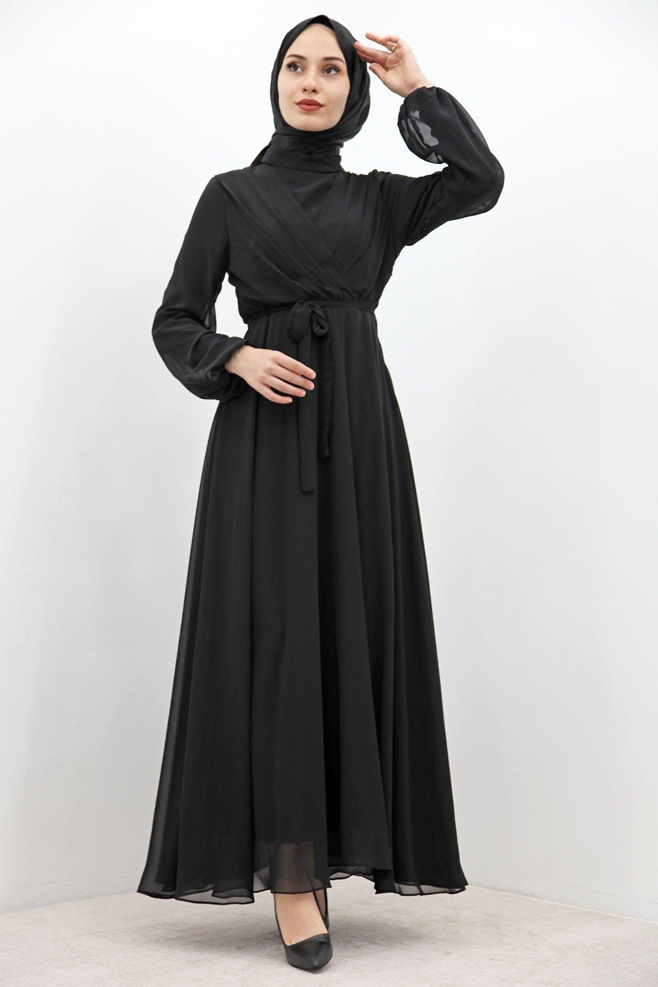 GİZAGİYİM - Önü Çarpraz Şifon Elbise Siyah