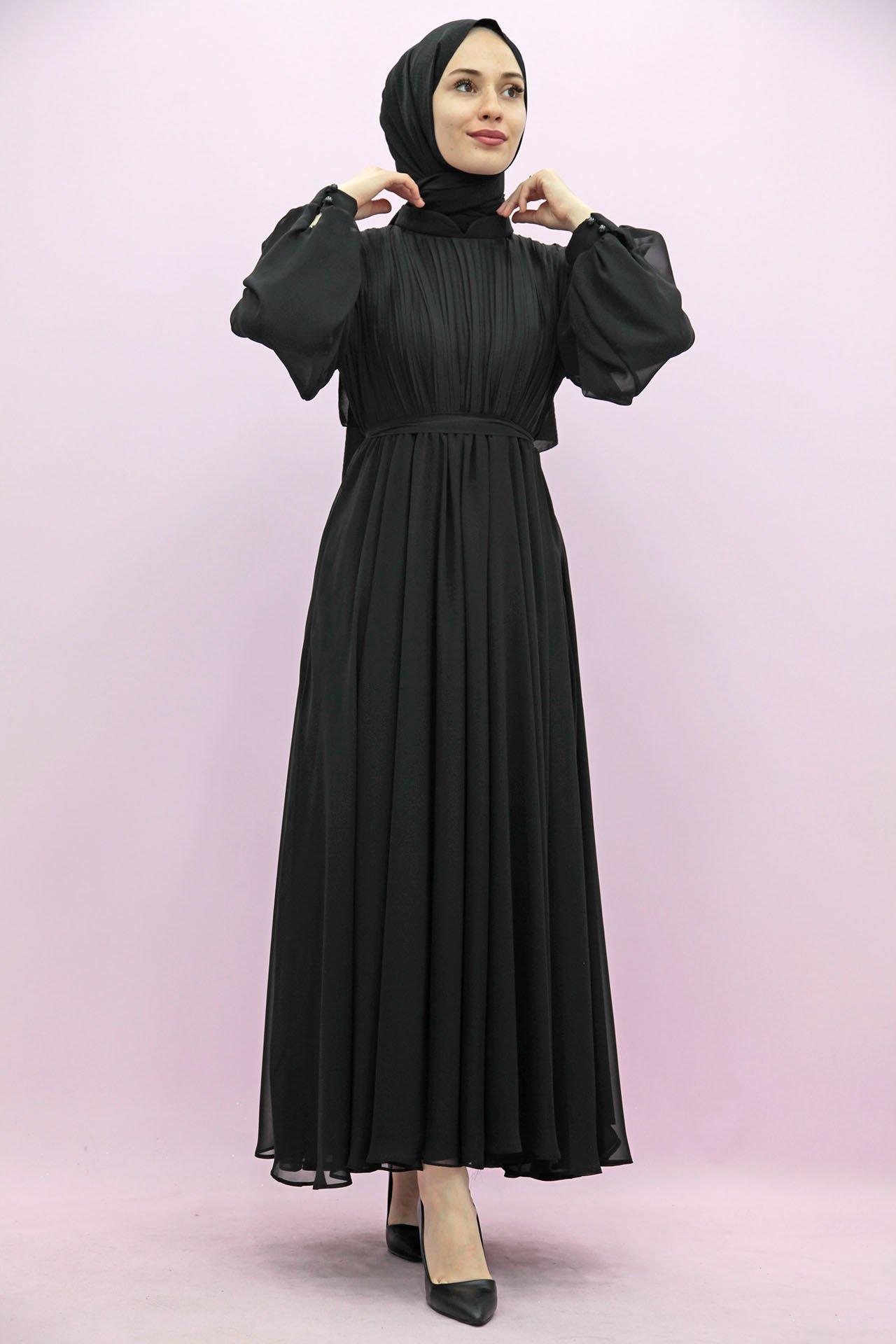 GİZAGİYİM - Kuyruklu Pilisoley Şifon Elbise Siyah