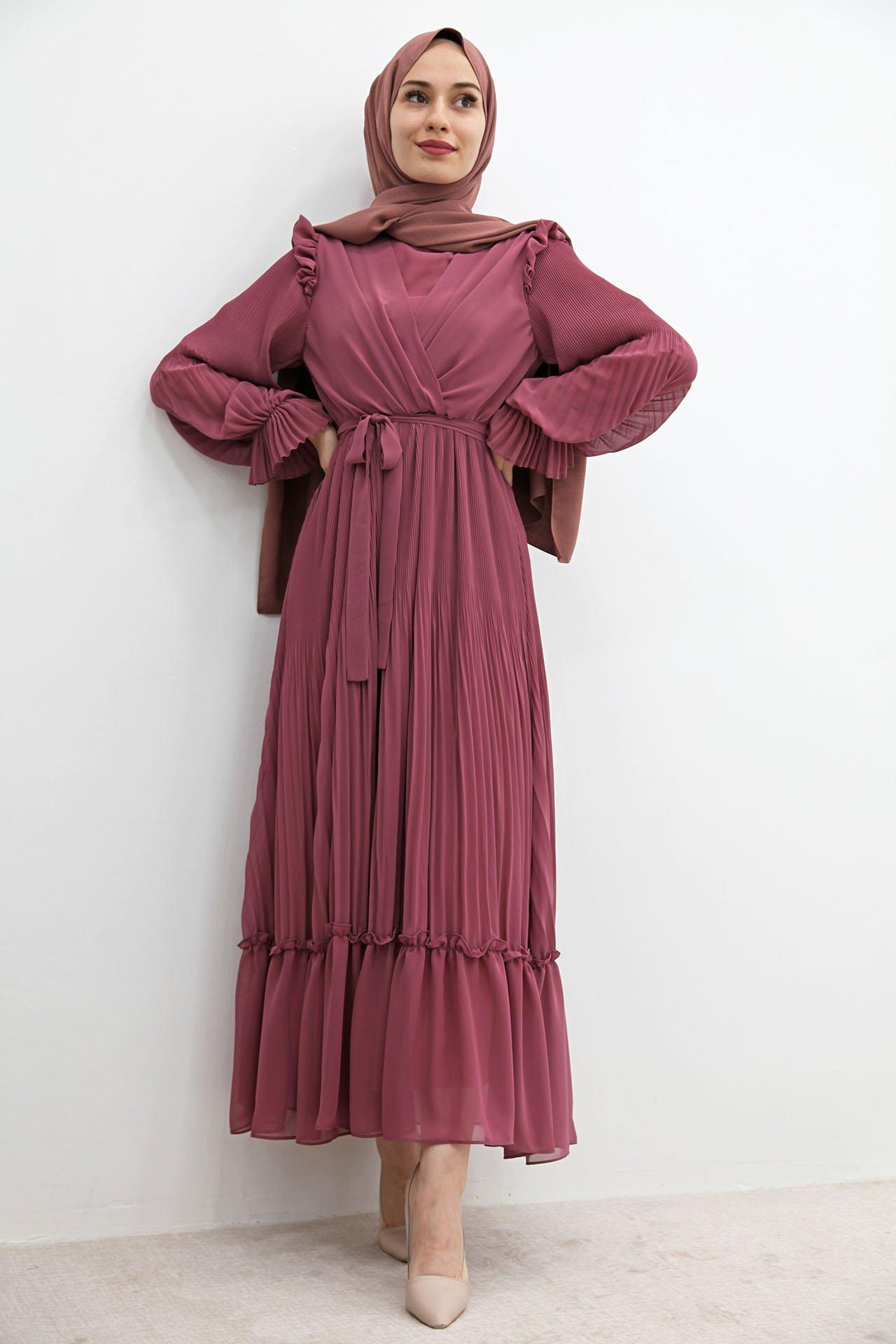 GİZAGİYİM - Önü Çapraz Piliseli Elbise Gül kurusu