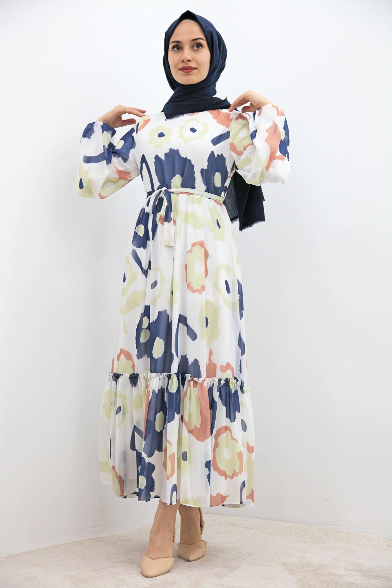 GİZAGİYİM - Pastel Çiçek Şifon Elbise Lacivert
