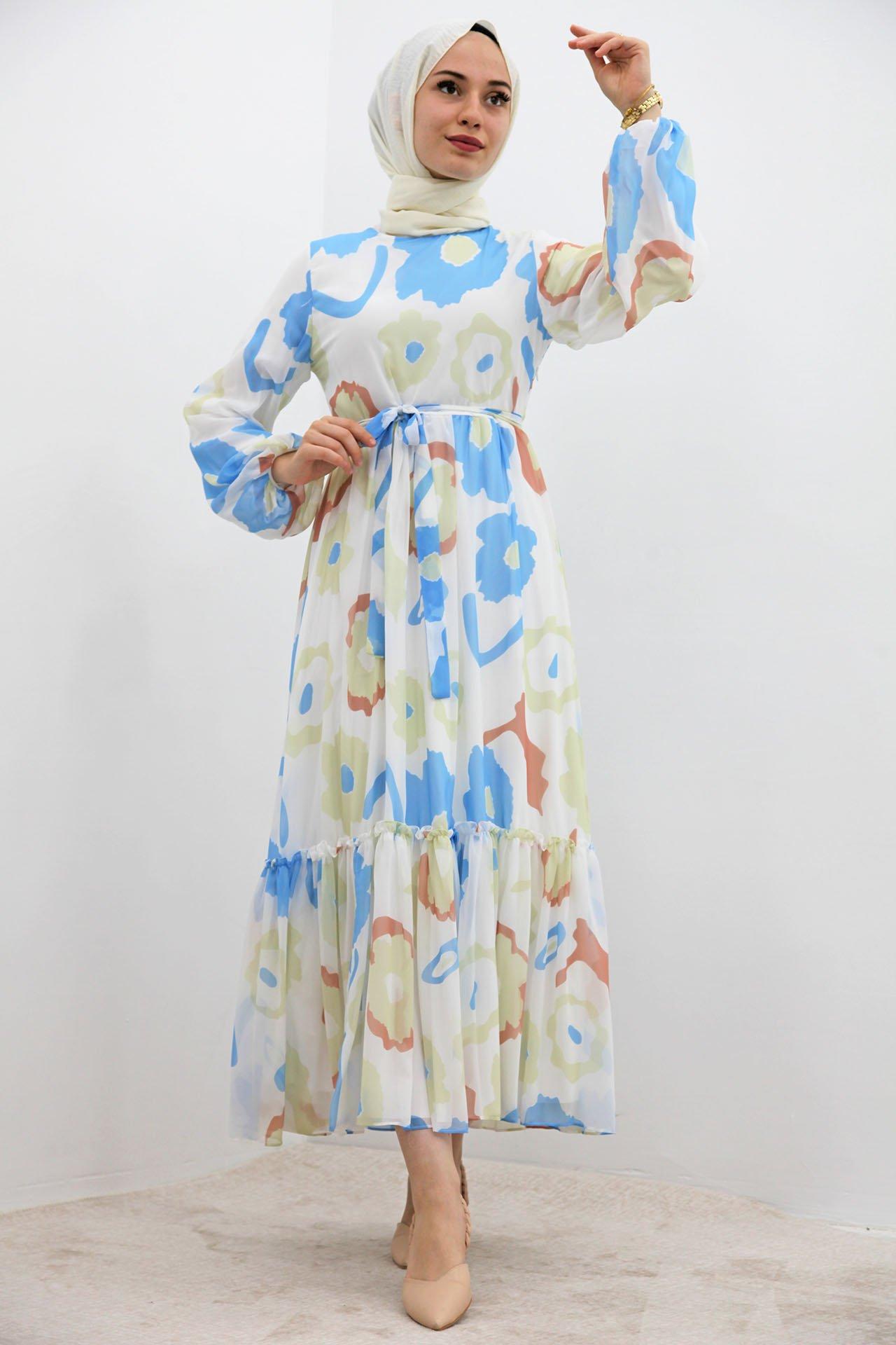 GİZAGİYİM - Pastel Çiçek Şifon Elbise Mavi