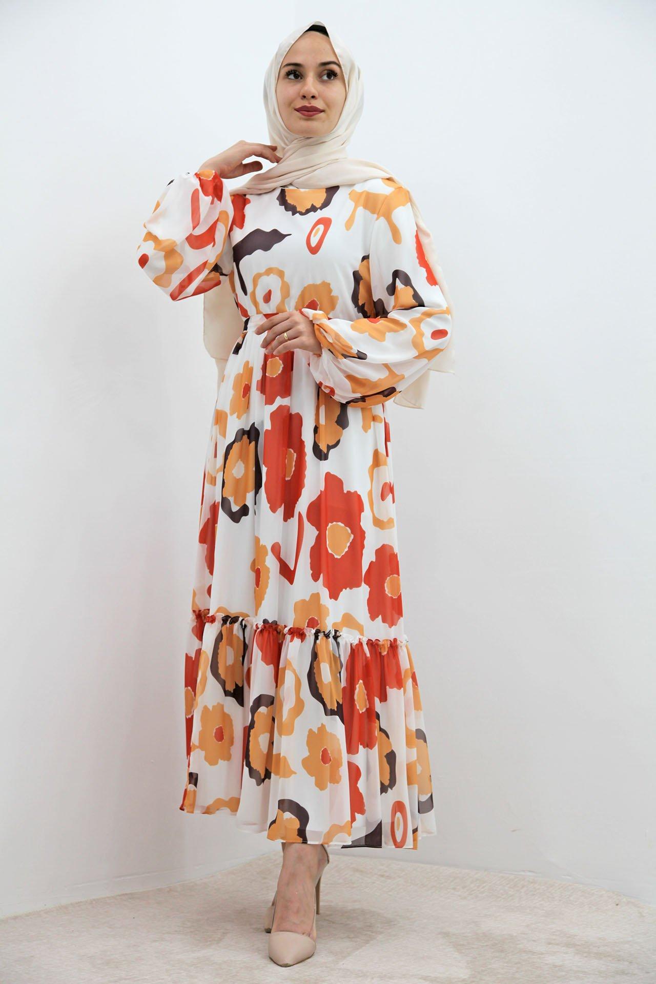GİZAGİYİM - Pastel Çiçek Şifon Elbise Turuncu