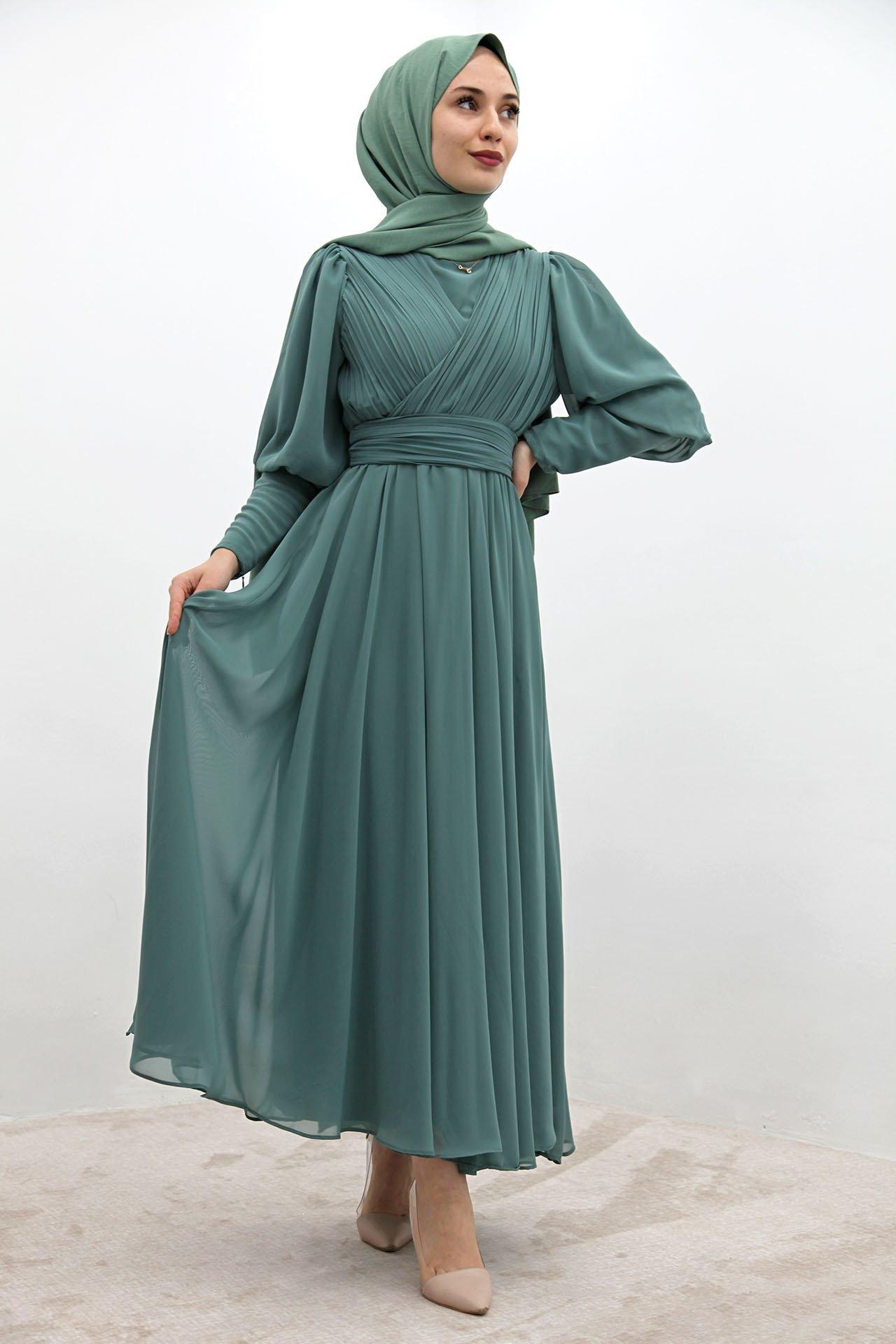 GİZAGİYİM - Kolu Manşetli Piliseli Elbise Mint