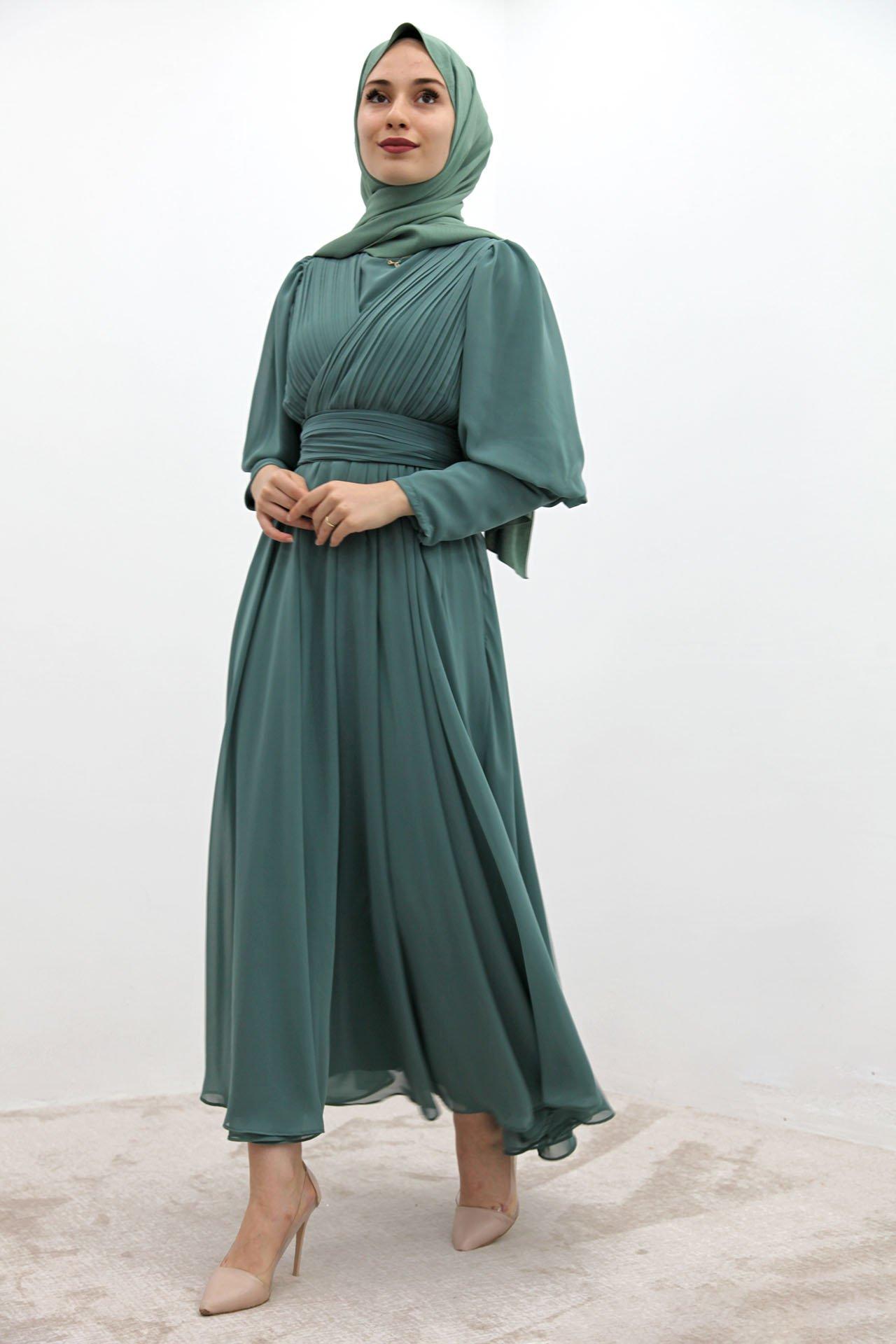 Kolu Manşetli Piliseli Elbise Mint - Thumbnail