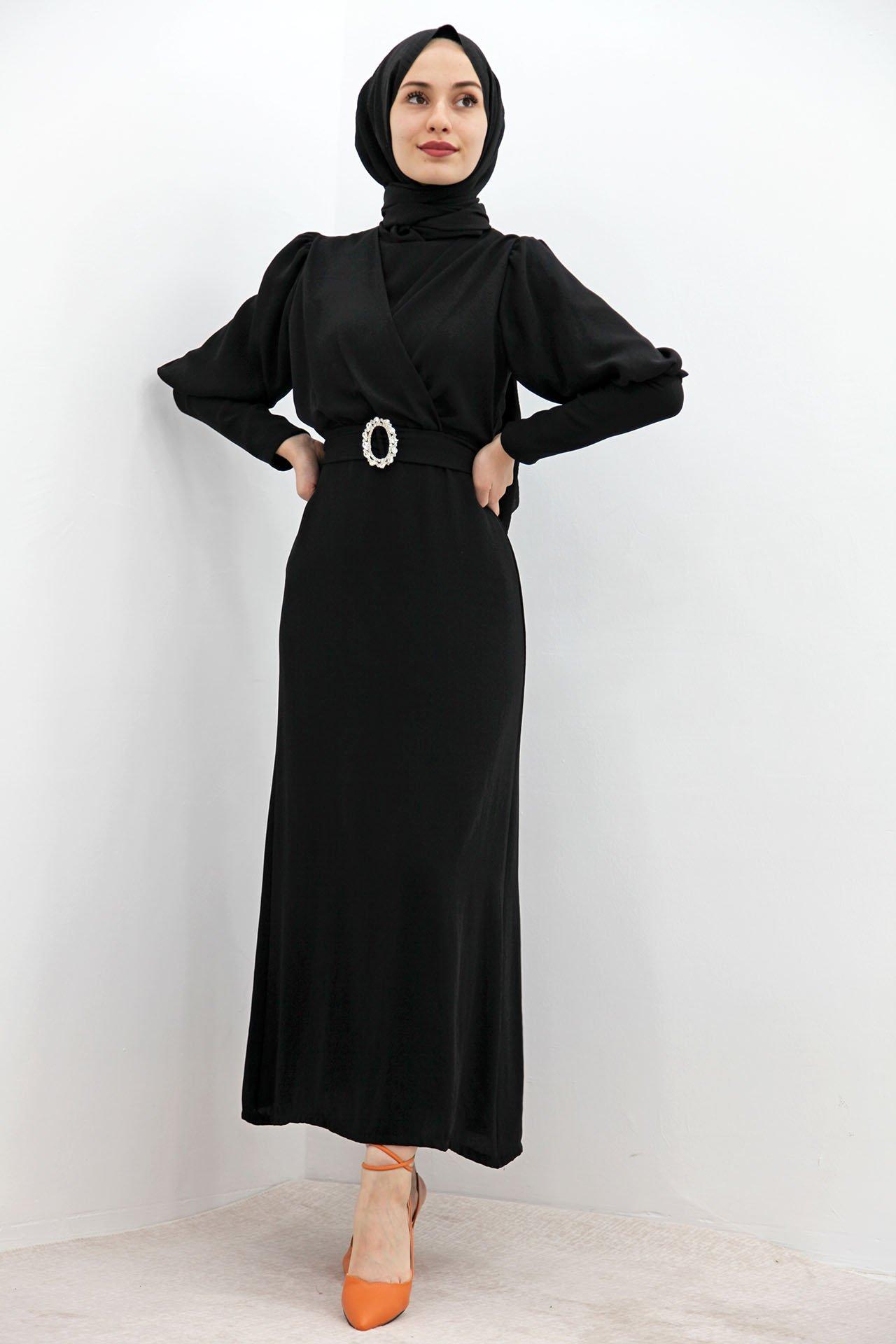 GİZAGİYİM - Tokalı Kalem Elbise Siyah