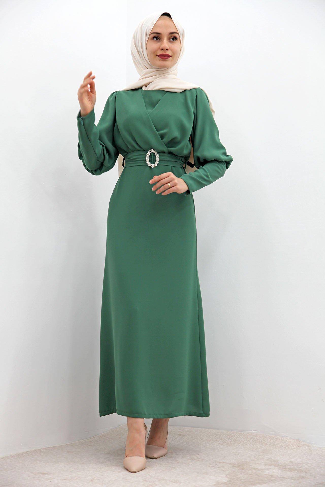 GİZAGİYİM - Tokalı Kalem Elbise Yeşil