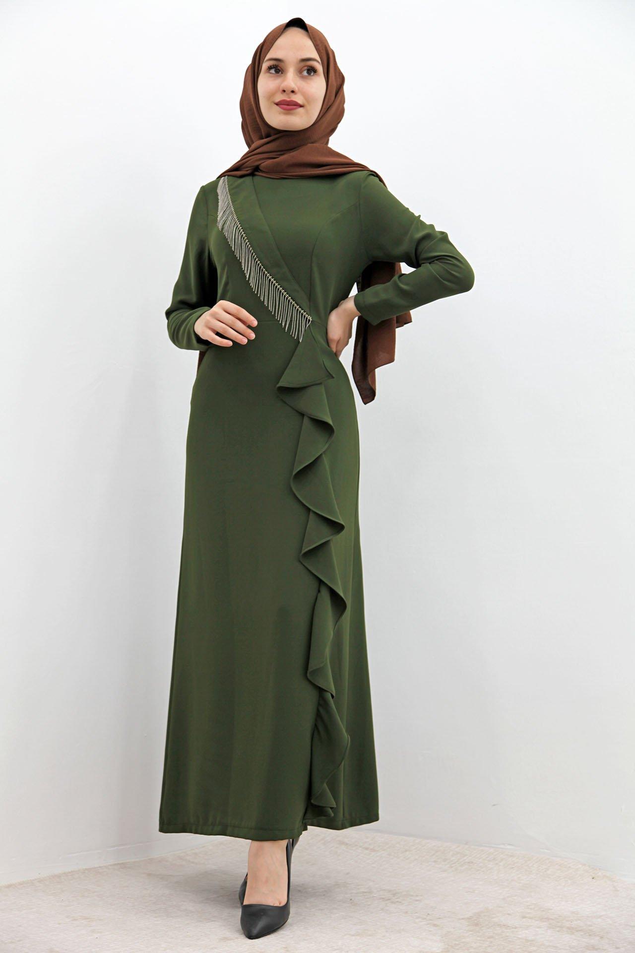 GİZAGİYİM - Eteği Dalgalı Kalem Elbise Kına yeşil