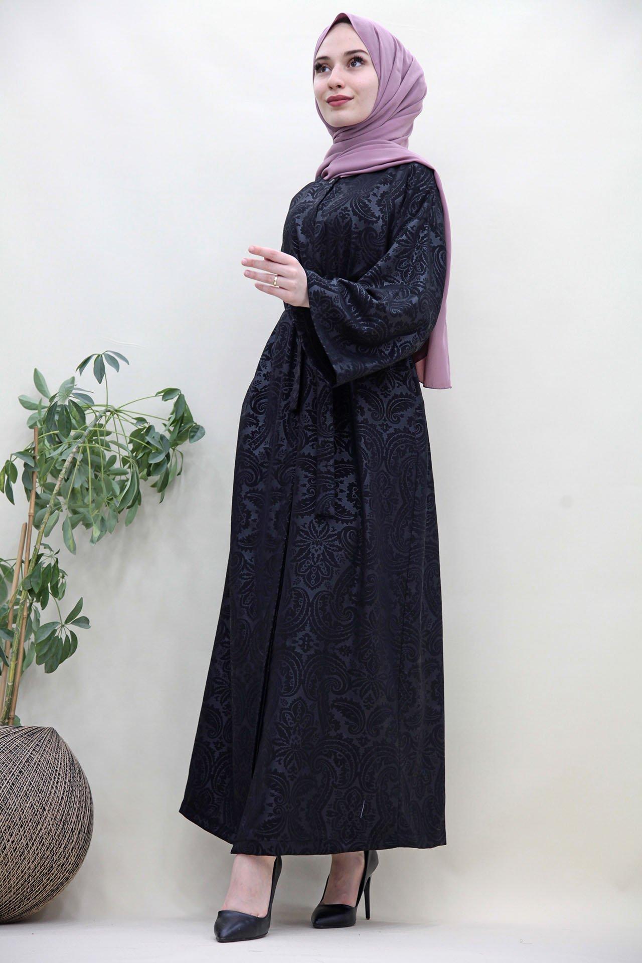 GİZAGİYİM - Retro Desen Ferace Elbise Siyah