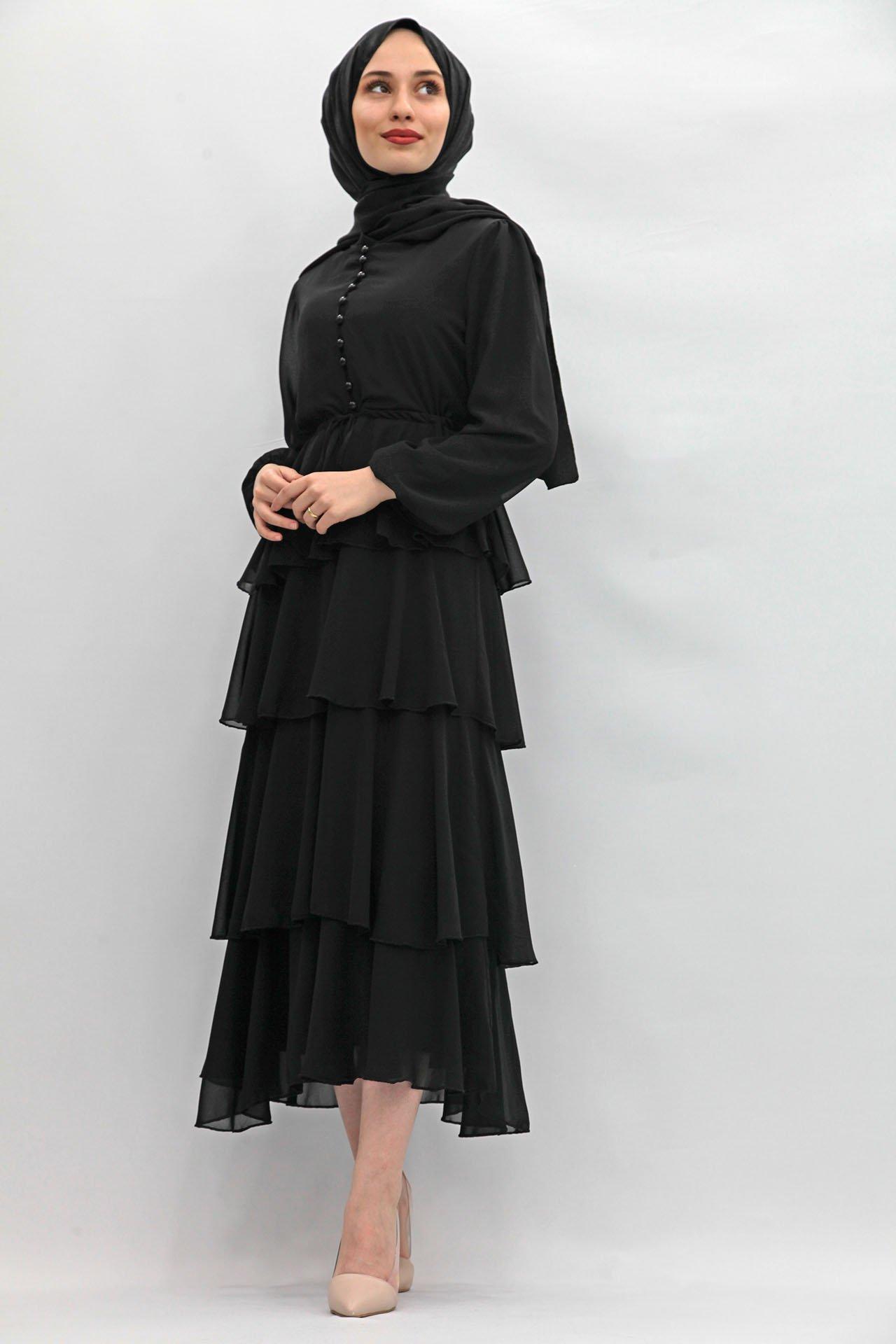 GİZAGİYİM - Önü Düğmeli Kat Kat Elbise Siyah