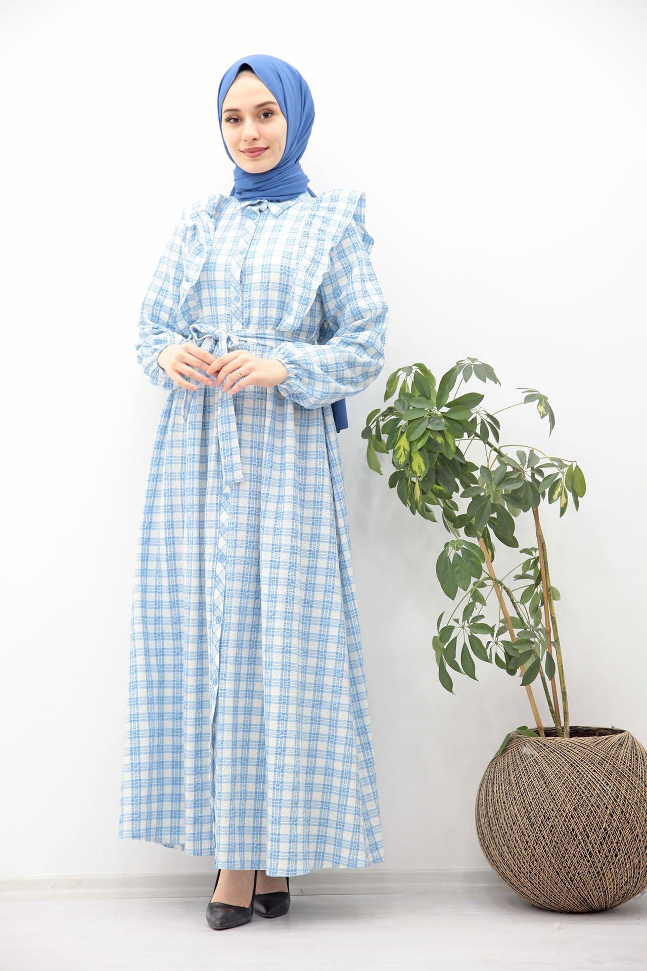 GİZAGİYİM - Kuşaklı Düğmeli Tesettür Elbise İndigo