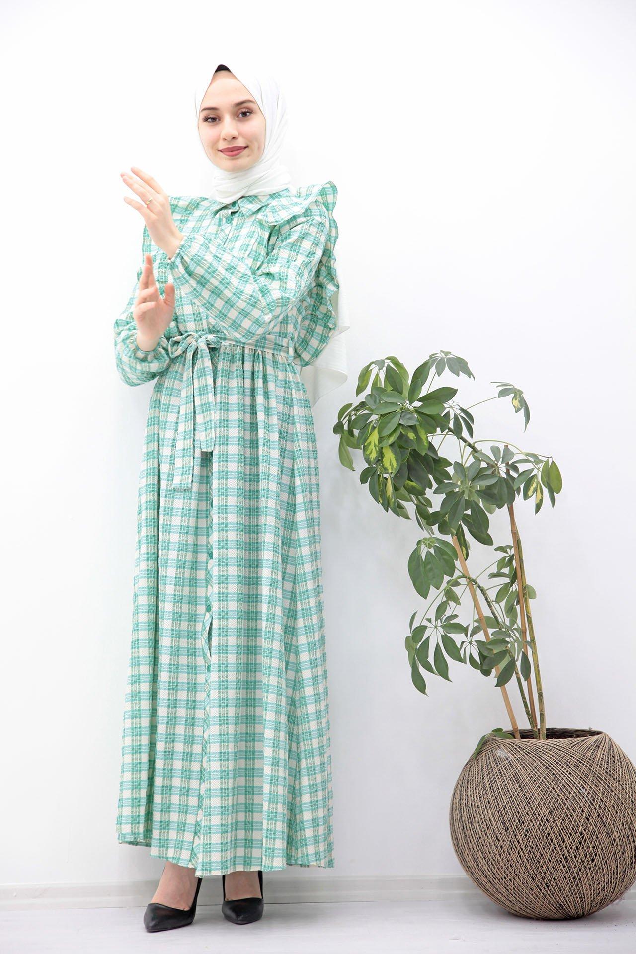 GİZAGİYİM - Kuşaklı Düğmeli Tesettür Elbise Mint