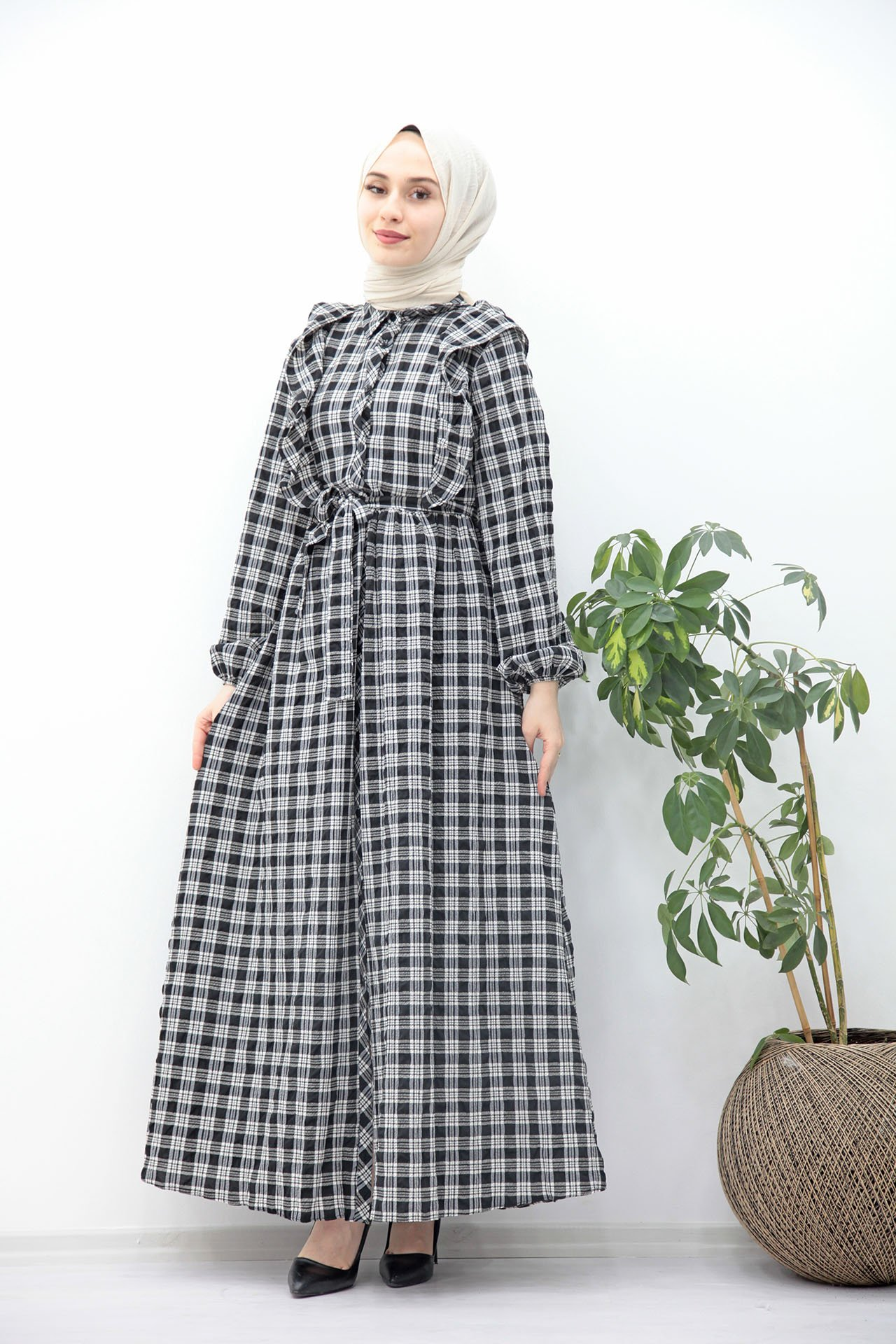 GİZAGİYİM - Kuşaklı Düğmeli Tesettür Elbise Siyah