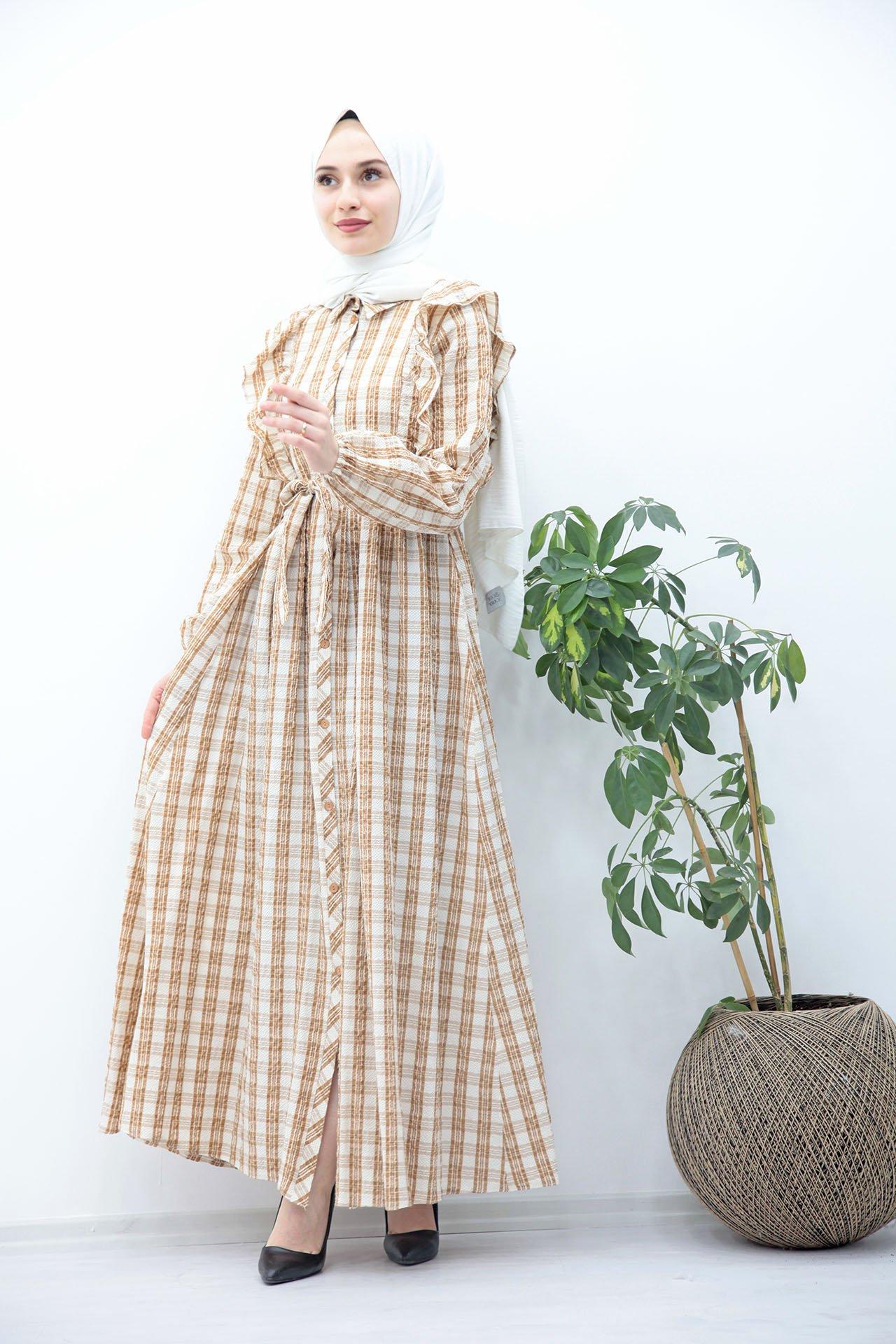 GİZAGİYİM - Kuşaklı Düğmeli Tesettür Elbise Taba