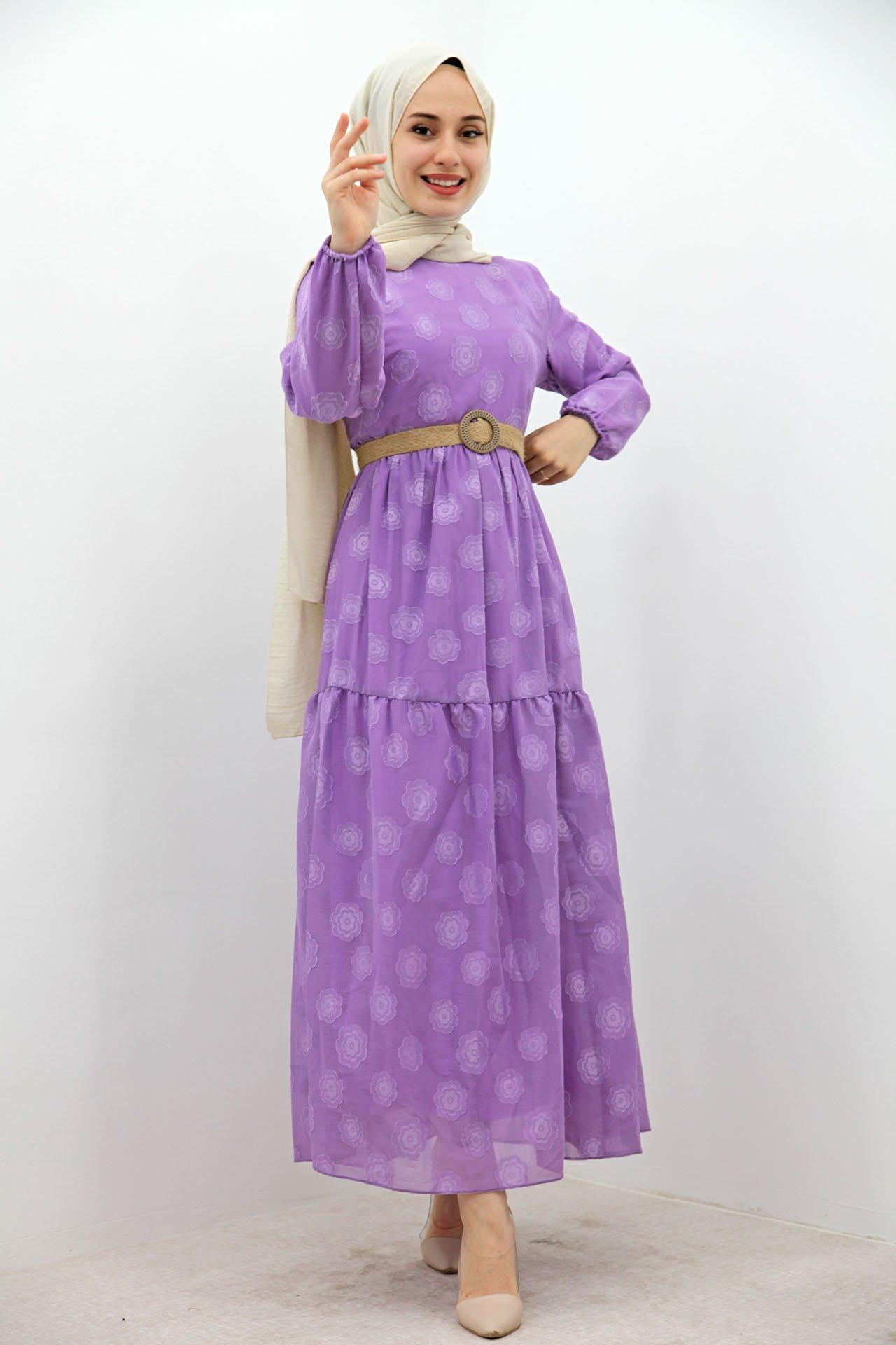 GİZAGİYİM - Hasır Kemer Çiçekli Elbise Lila