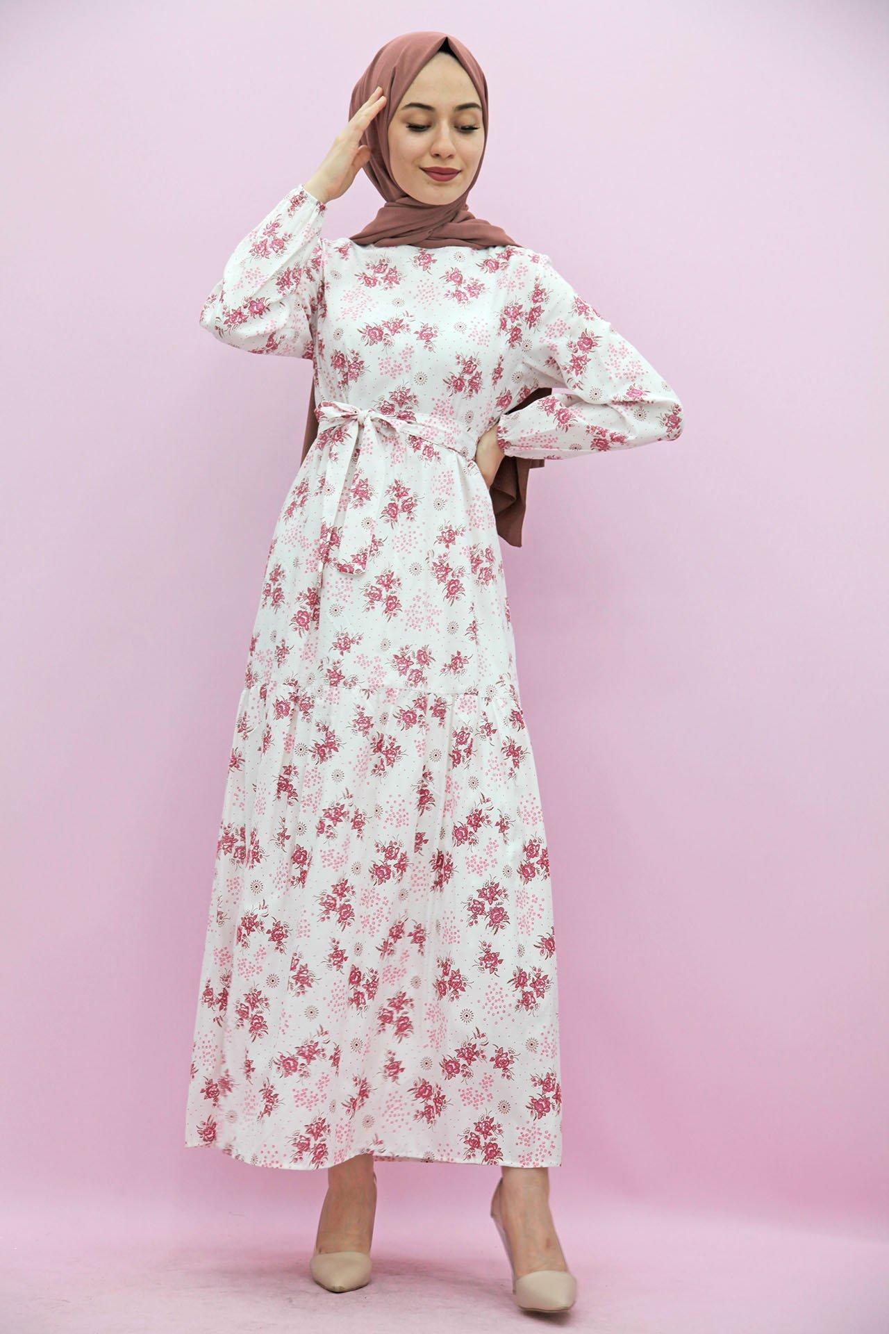 GİZAGİYİM - Çiçek Dokumalı Tesettür Elbise Pembe