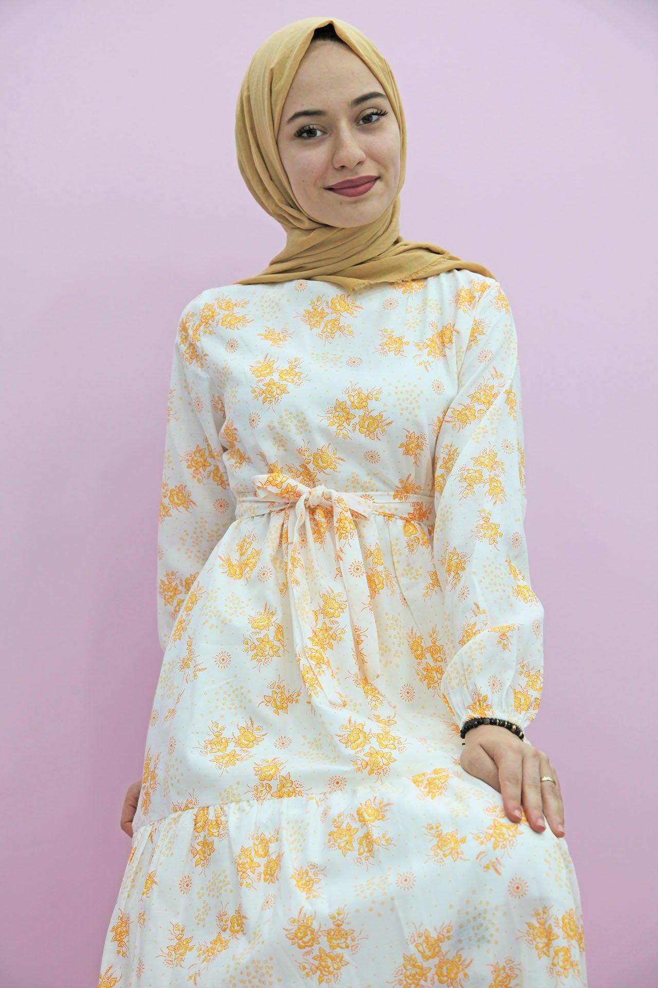 GİZAGİYİM - Çiçek Dokumalı Tesettür Elbise Sarı