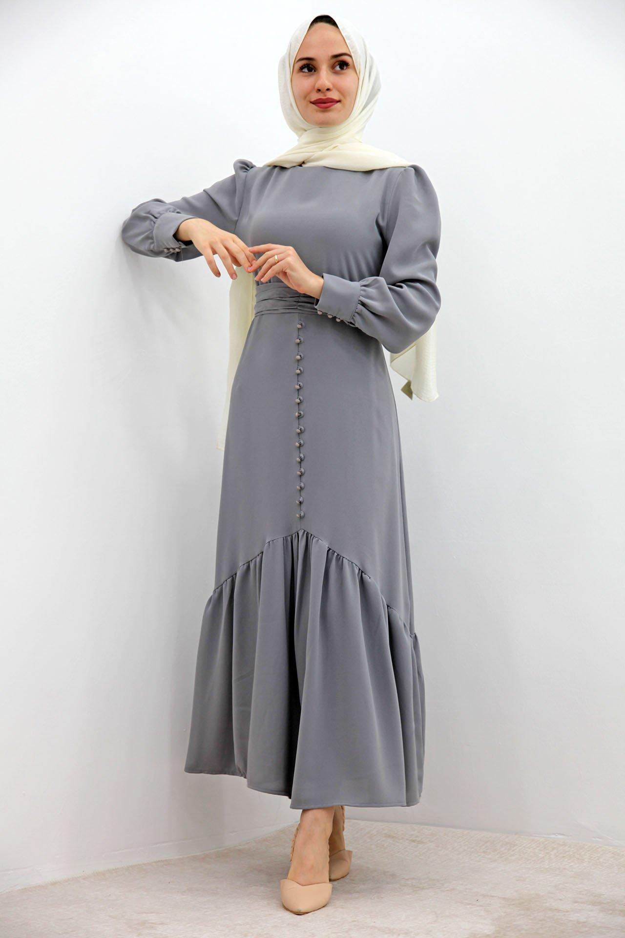 GİZAGİYİM - Düğme Detaylı Kuşaklı Elbise Gri