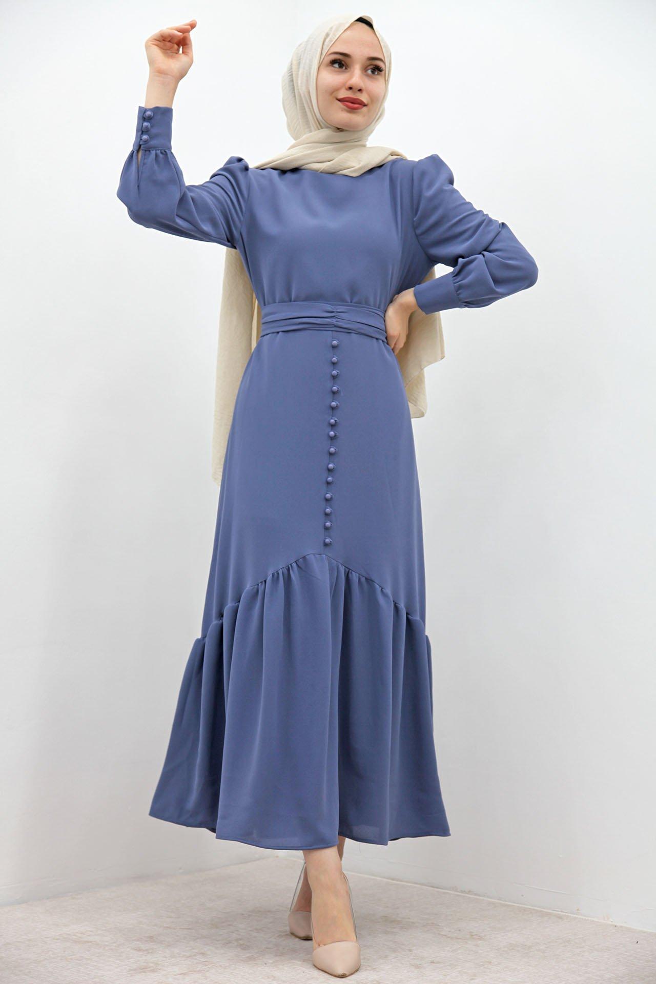 GİZAGİYİM - Düğme Detaylı Kuşaklı Elbise İndigo
