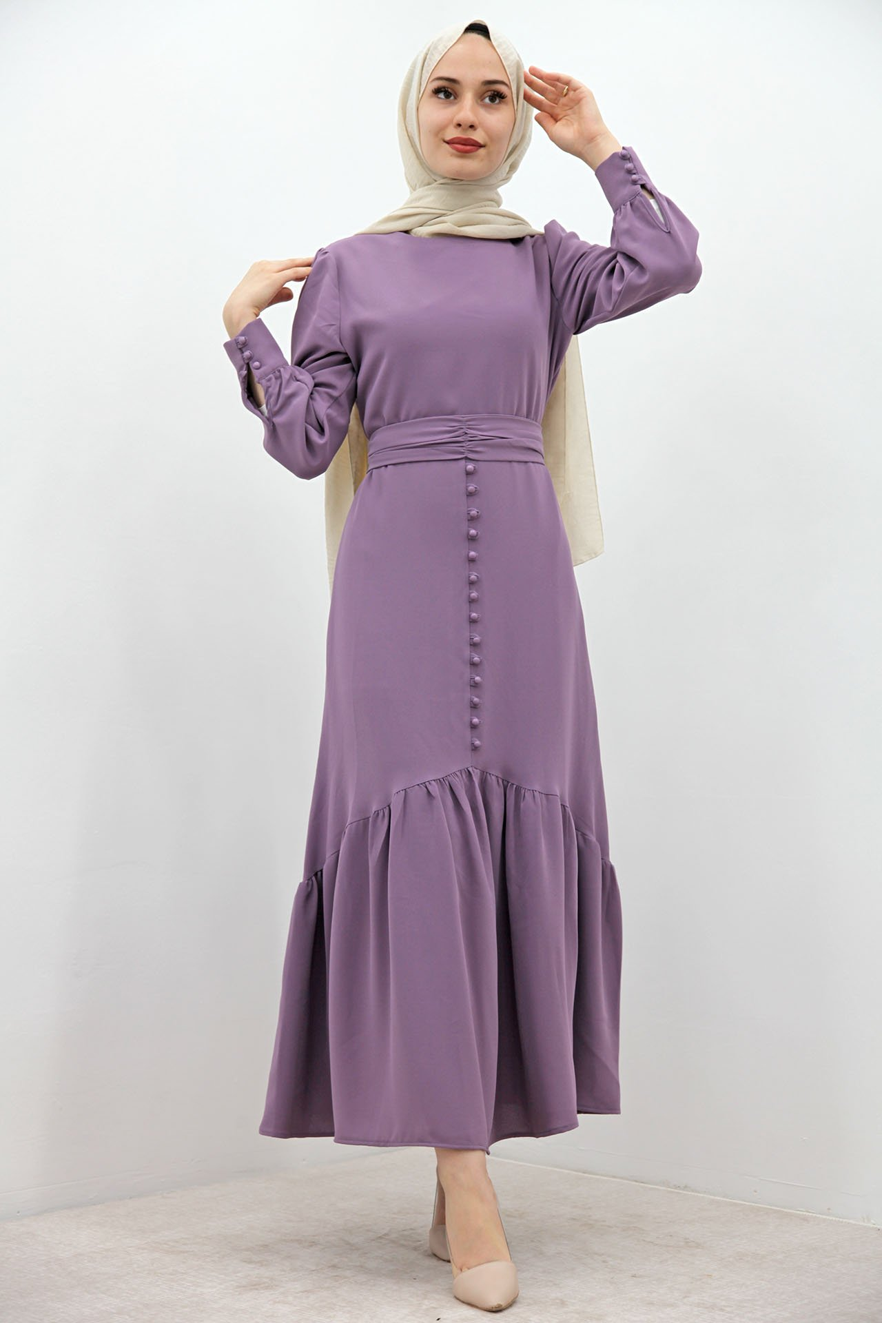 GİZAGİYİM - Düğme Detaylı Kuşaklı Elbise Lila