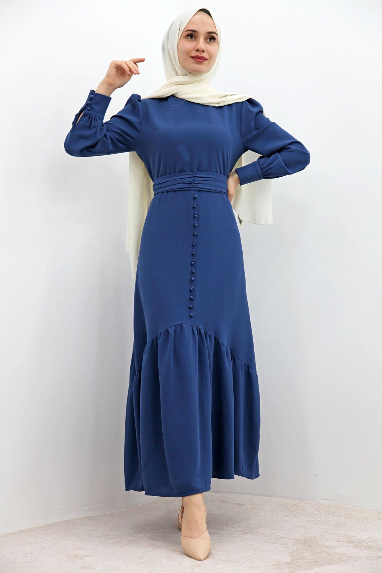 GİZAGİYİM - Düğme Detaylı Kuşaklı Elbise Mavi