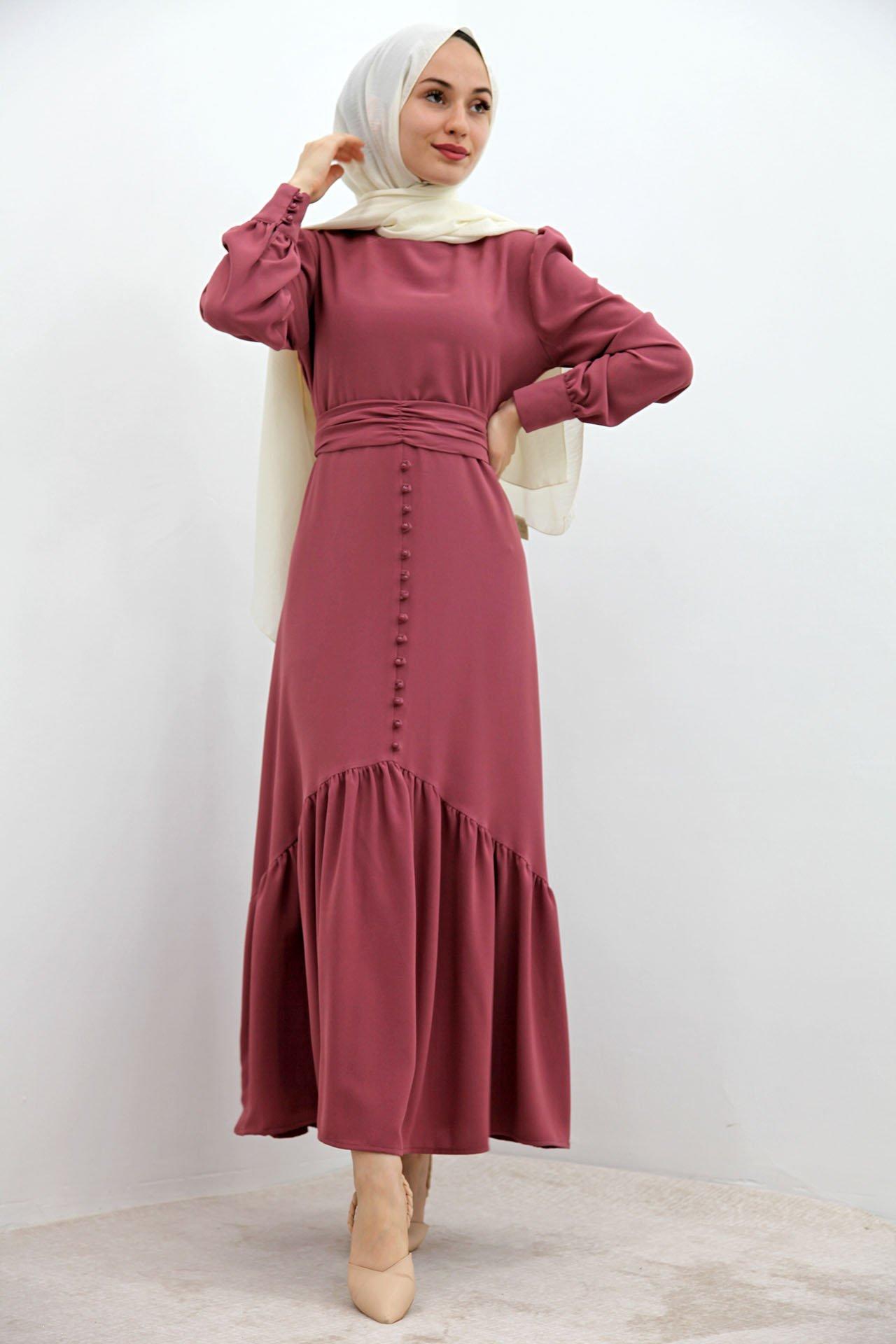 GİZAGİYİM - Düğme Detaylı Kuşaklı Elbise Pembe