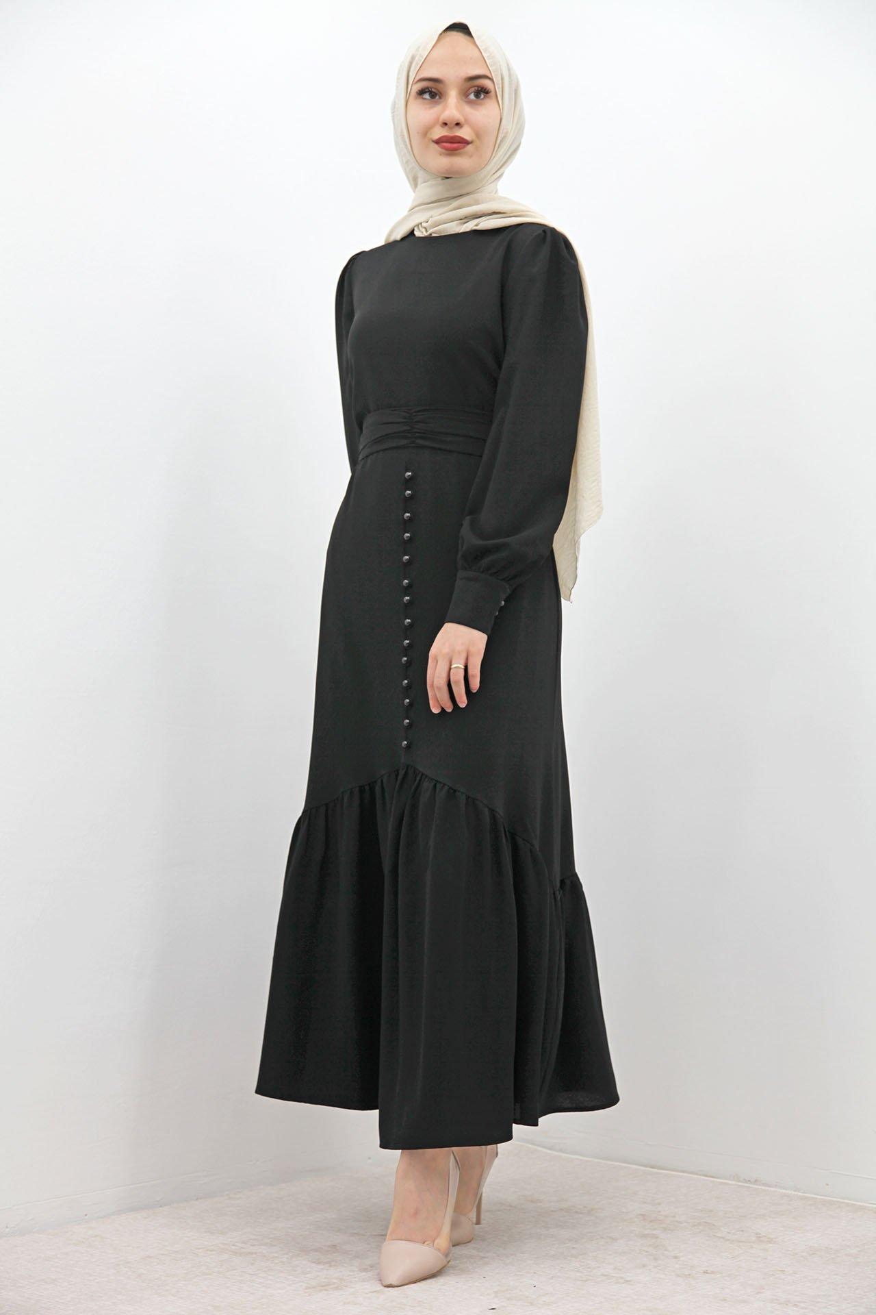 GİZAGİYİM - Düğme Detaylı Kuşaklı Elbise Siyah