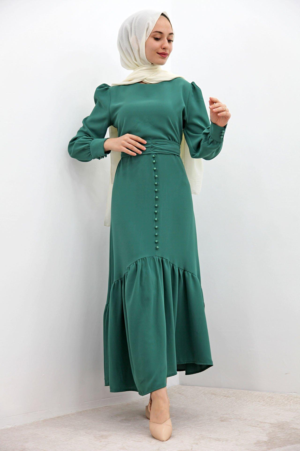 GİZAGİYİM - Düğme Detaylı Kuşaklı Elbise Yeşil