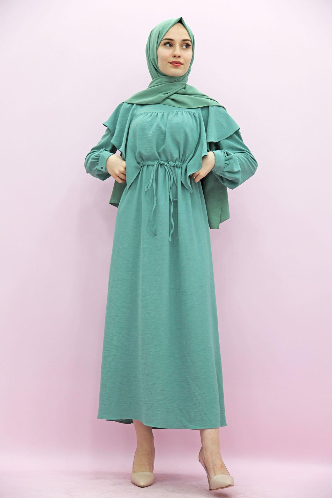 GİZAGİYİM - Belden İpli Fırfırlı Elbise Mint