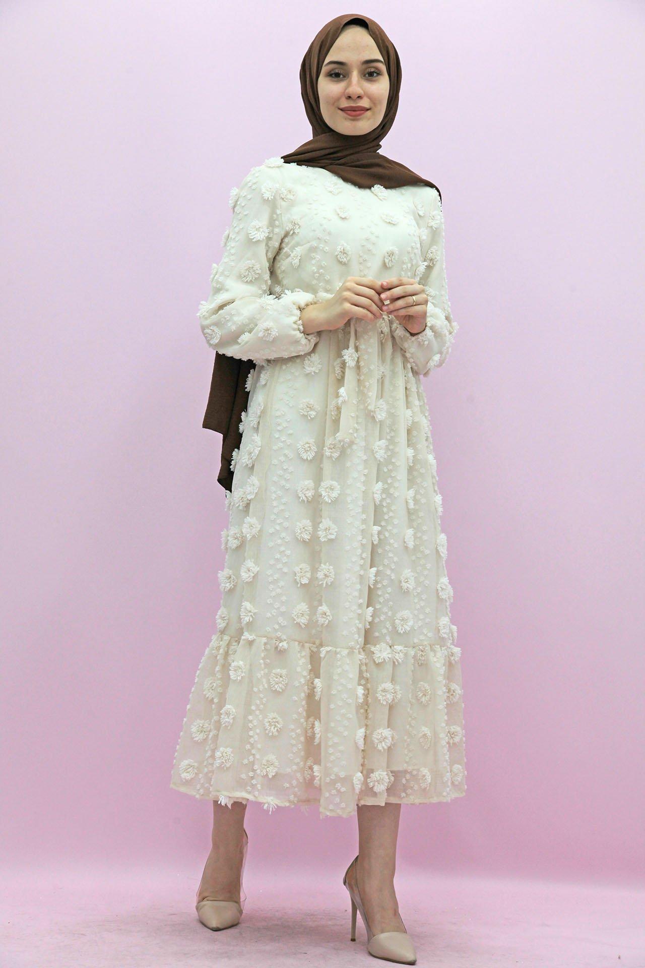 Belden Pileli İşlemeli Elbise Ekru - Thumbnail
