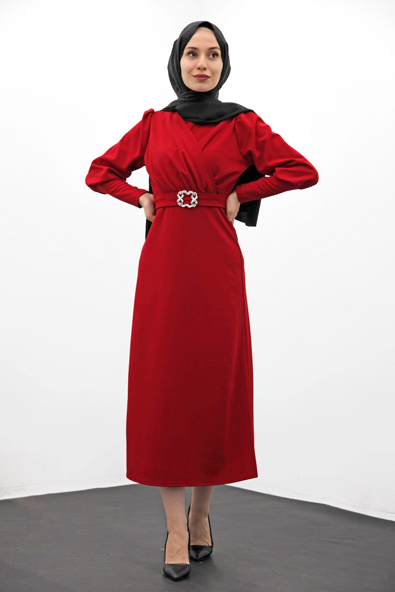 GİZAGİYİM - Taş Kemer Kalem Elbise Kırmızı