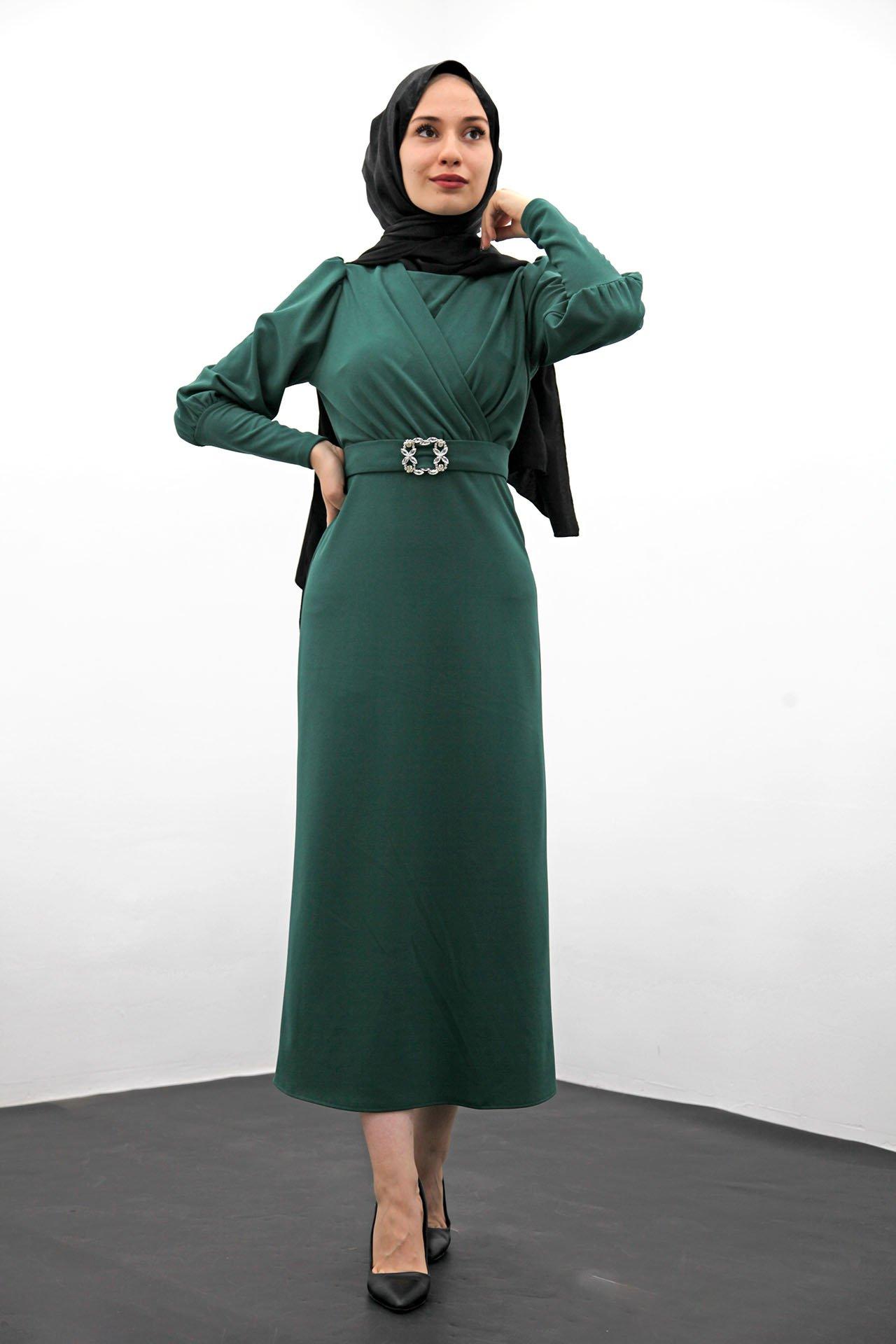 GİZAGİYİM - Taş Kemer Kalem Elbise Mint