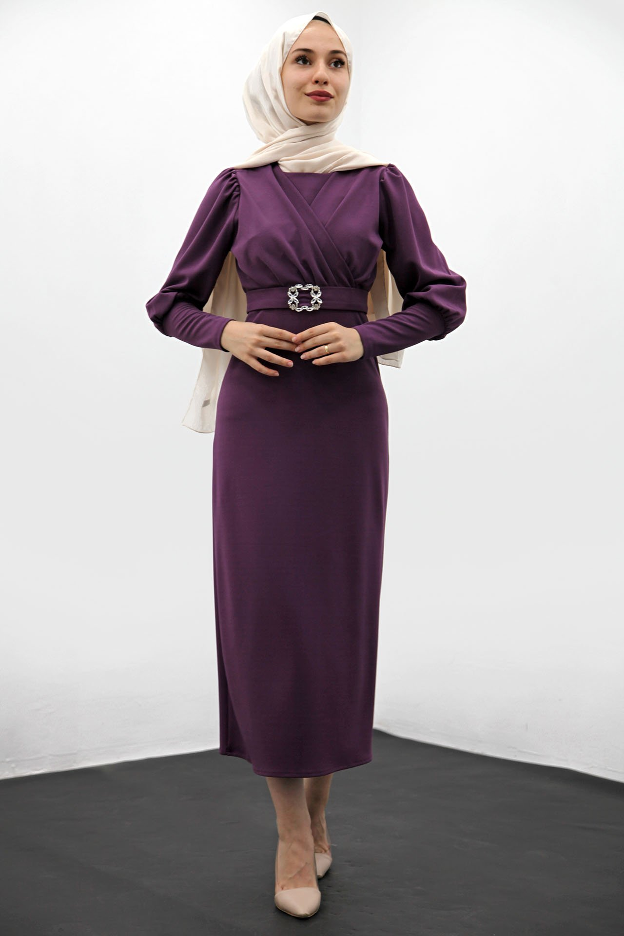 GİZAGİYİM - Taş Kemer Kalem Elbise Mor