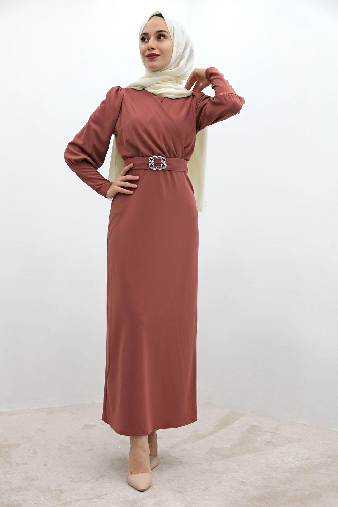 GİZAGİYİM - Taş Kemer Kalem Elbise Pembe