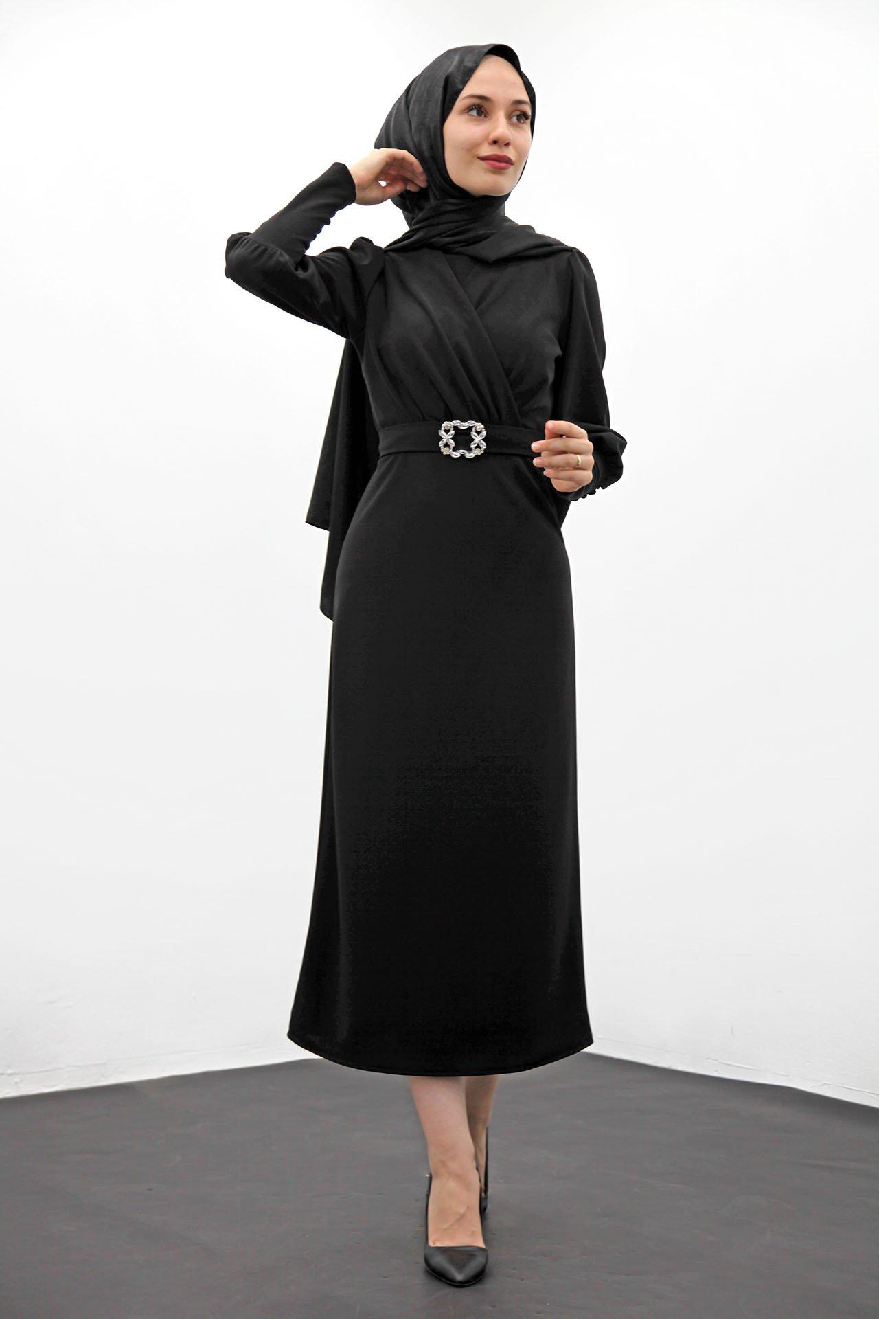 Taş Kemer Kalem Elbise Siyah - Thumbnail