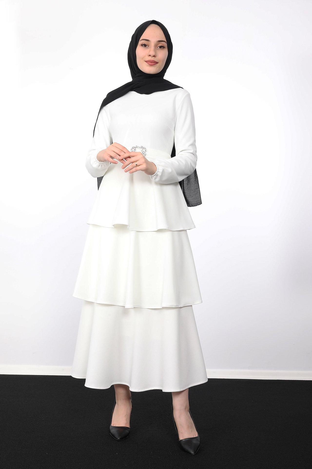 GİZAGİYİM - Kat Kat Tesettür Elbise Beyaz