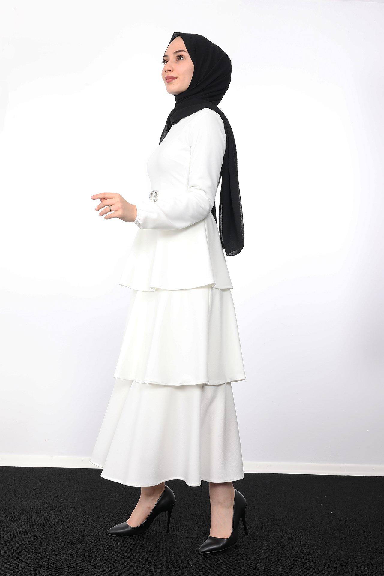 Kat Kat Tesettür Elbise Beyaz - Thumbnail