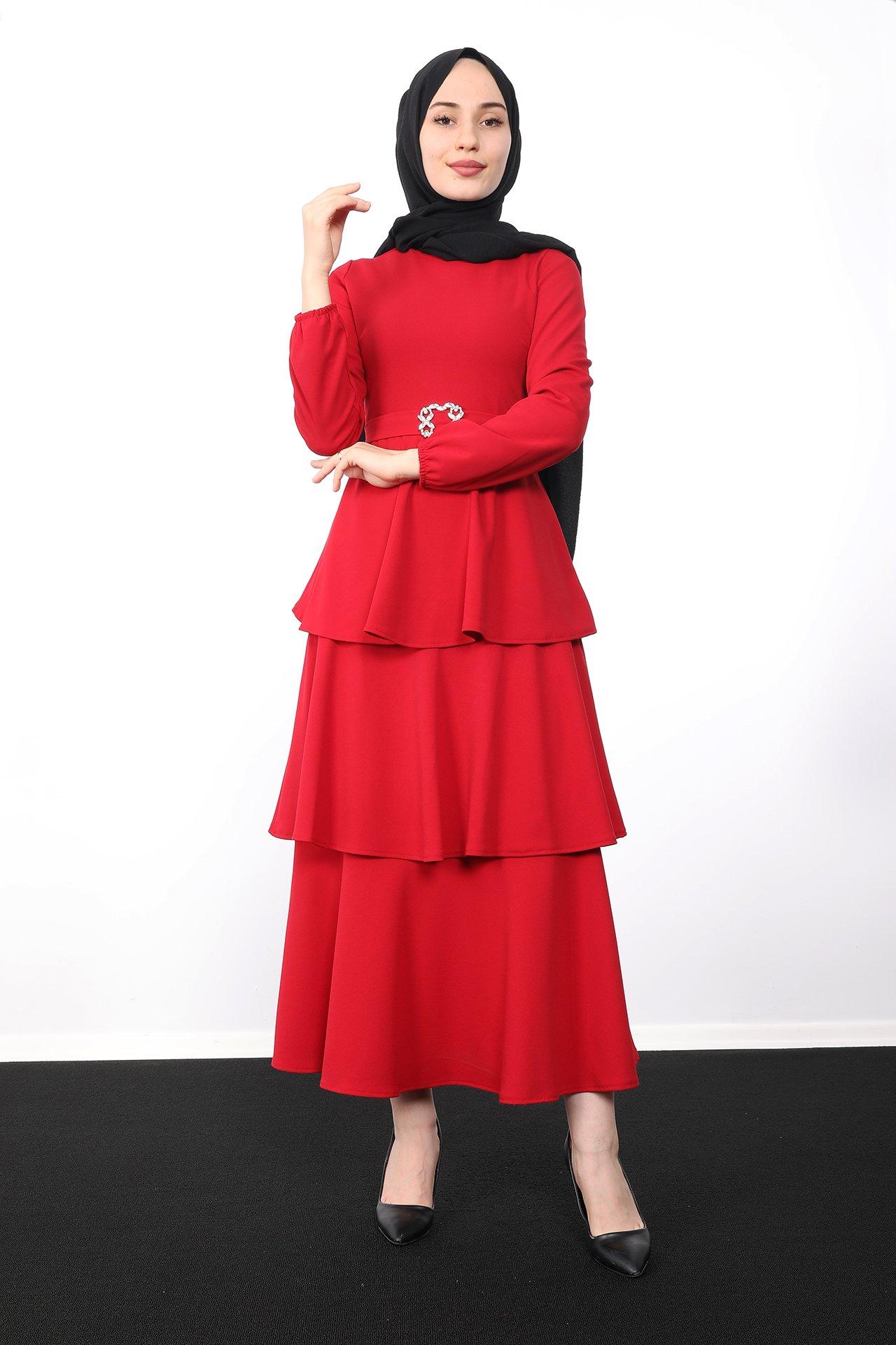 GİZAGİYİM - Kat Kat Tesettür Elbise Kırmızı
