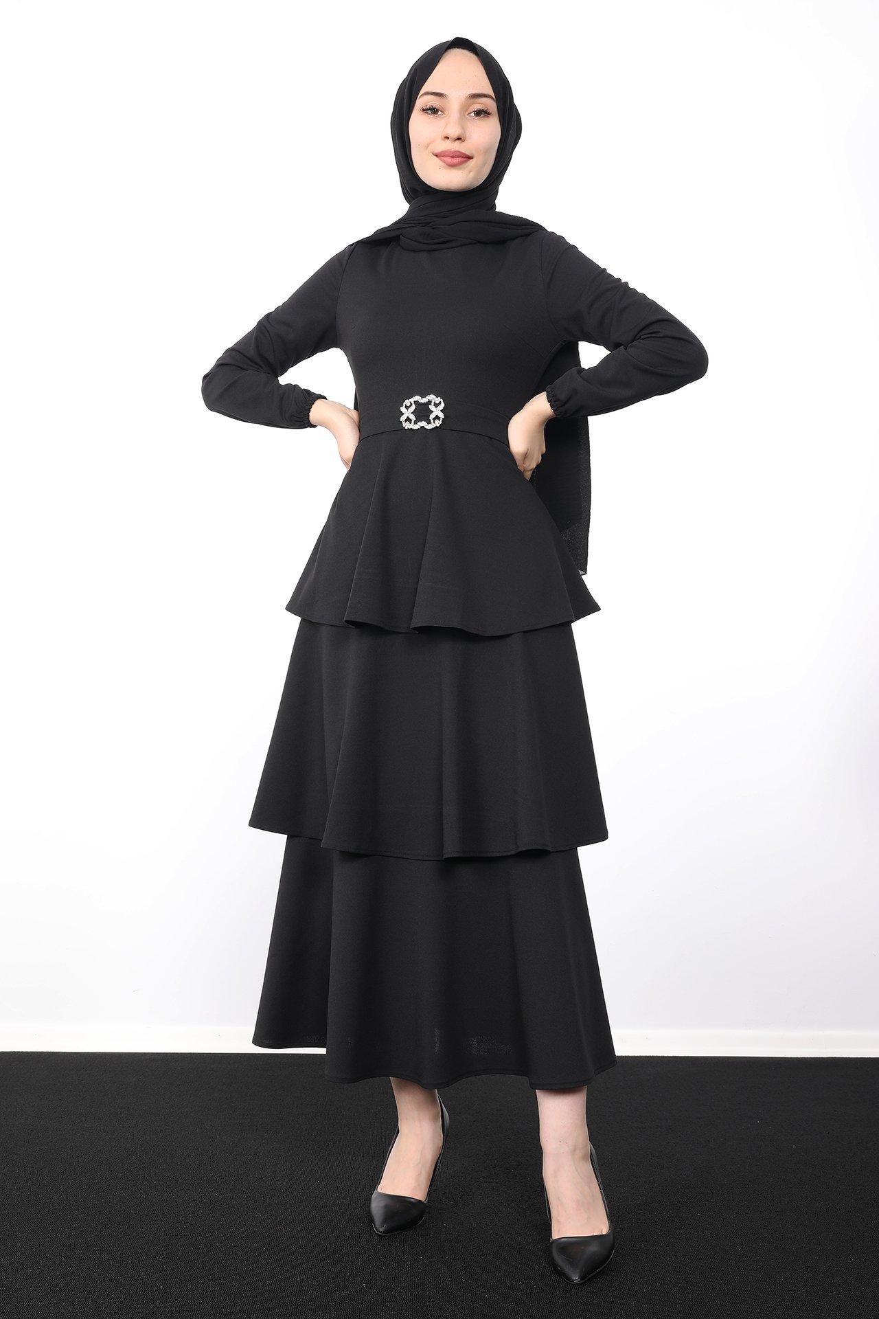 GİZAGİYİM - Kat Kat Tesettür Elbise Siyah