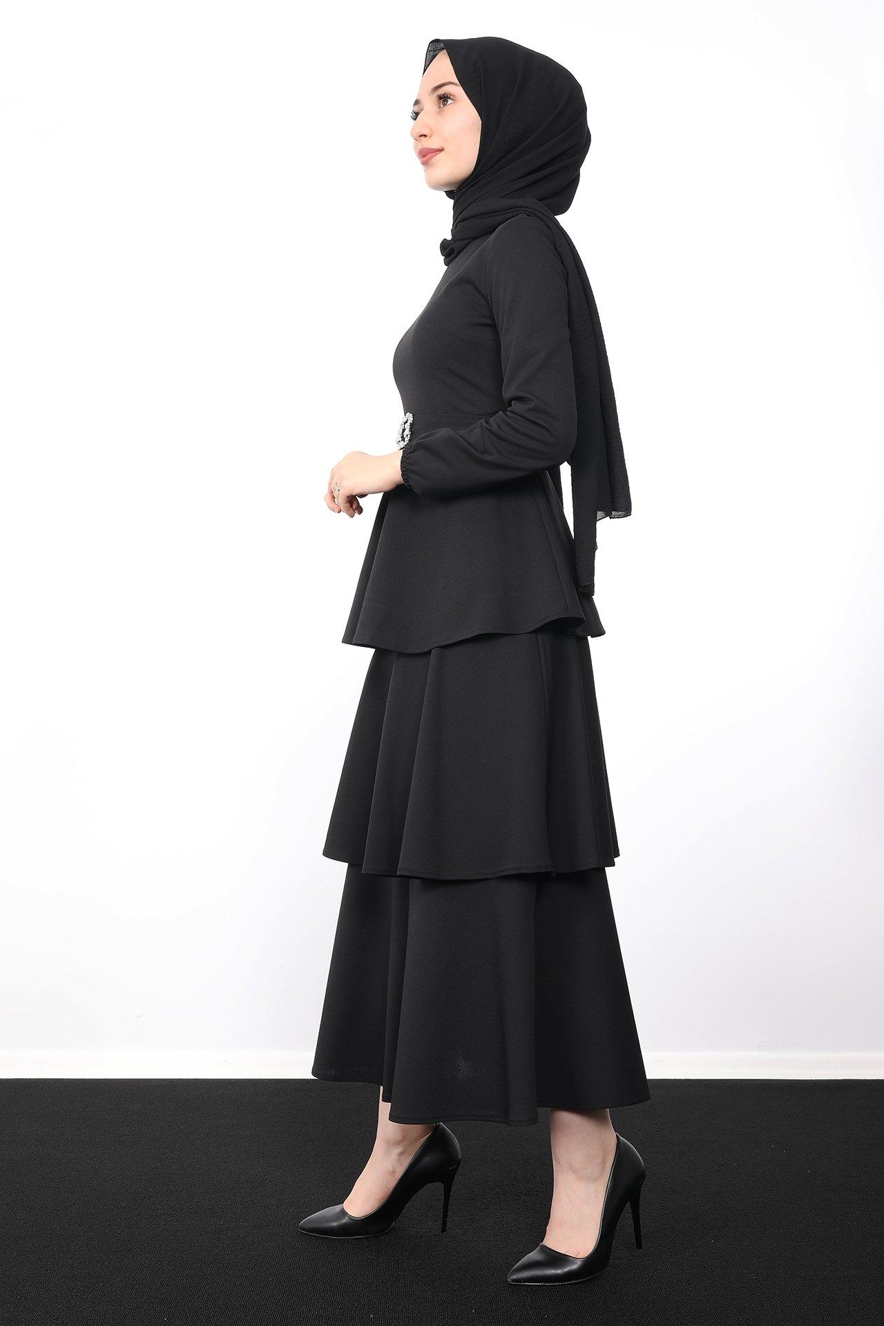 Kat Kat Tesettür Elbise Siyah - Thumbnail