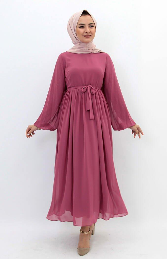 Kolları Taşlı Şifon Tesettür Elbise Pembe - Giza Giyim