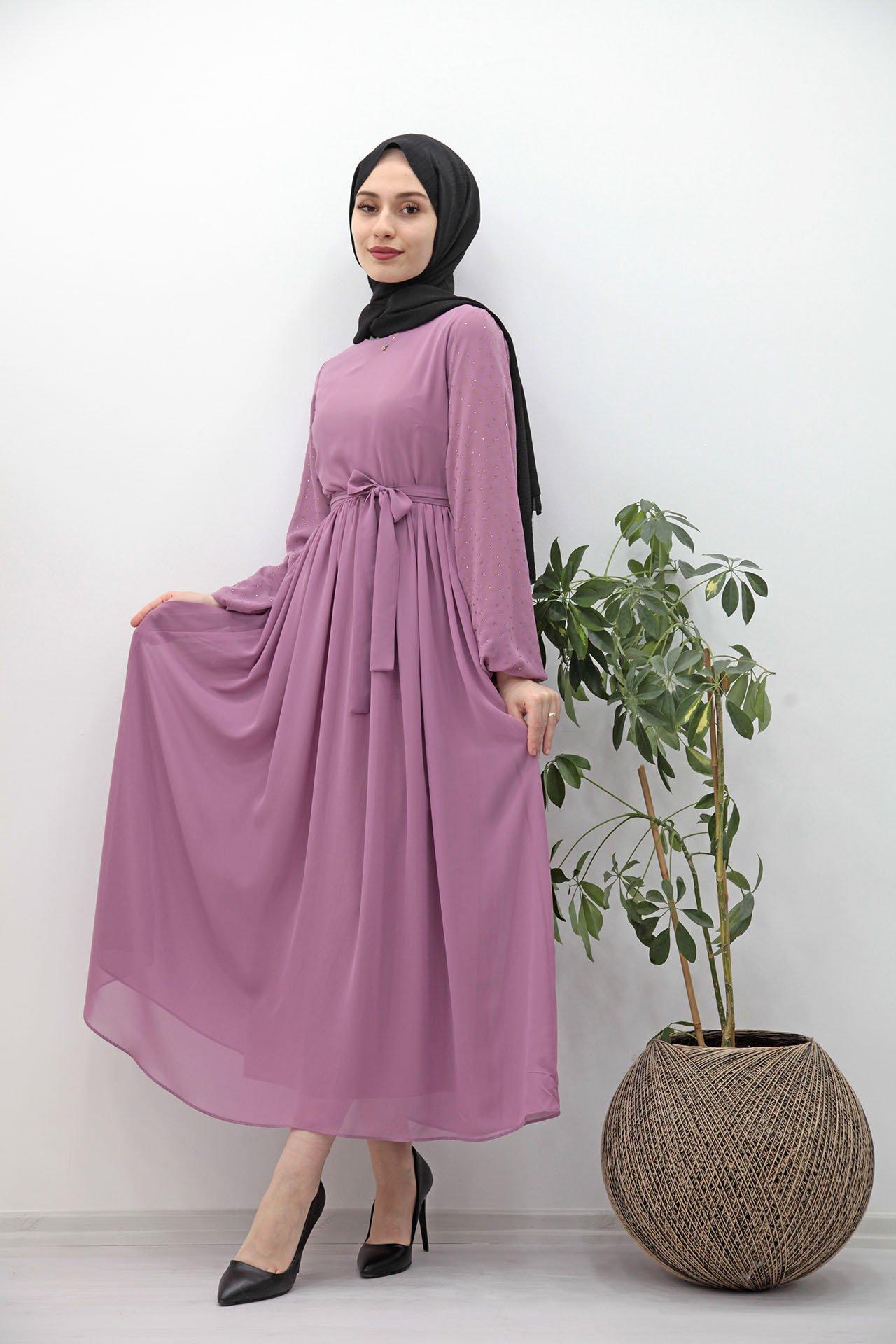 Kolları Taşlı Şifon Tesettür Elbise Pudra - Giza Giyim