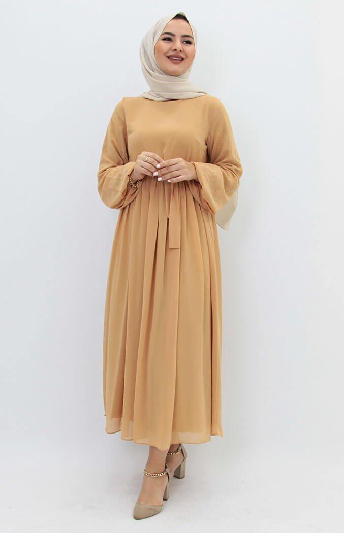 GİZAGİYİM - Kolları Taşlı Şifon Tesettür Elbise Sarı