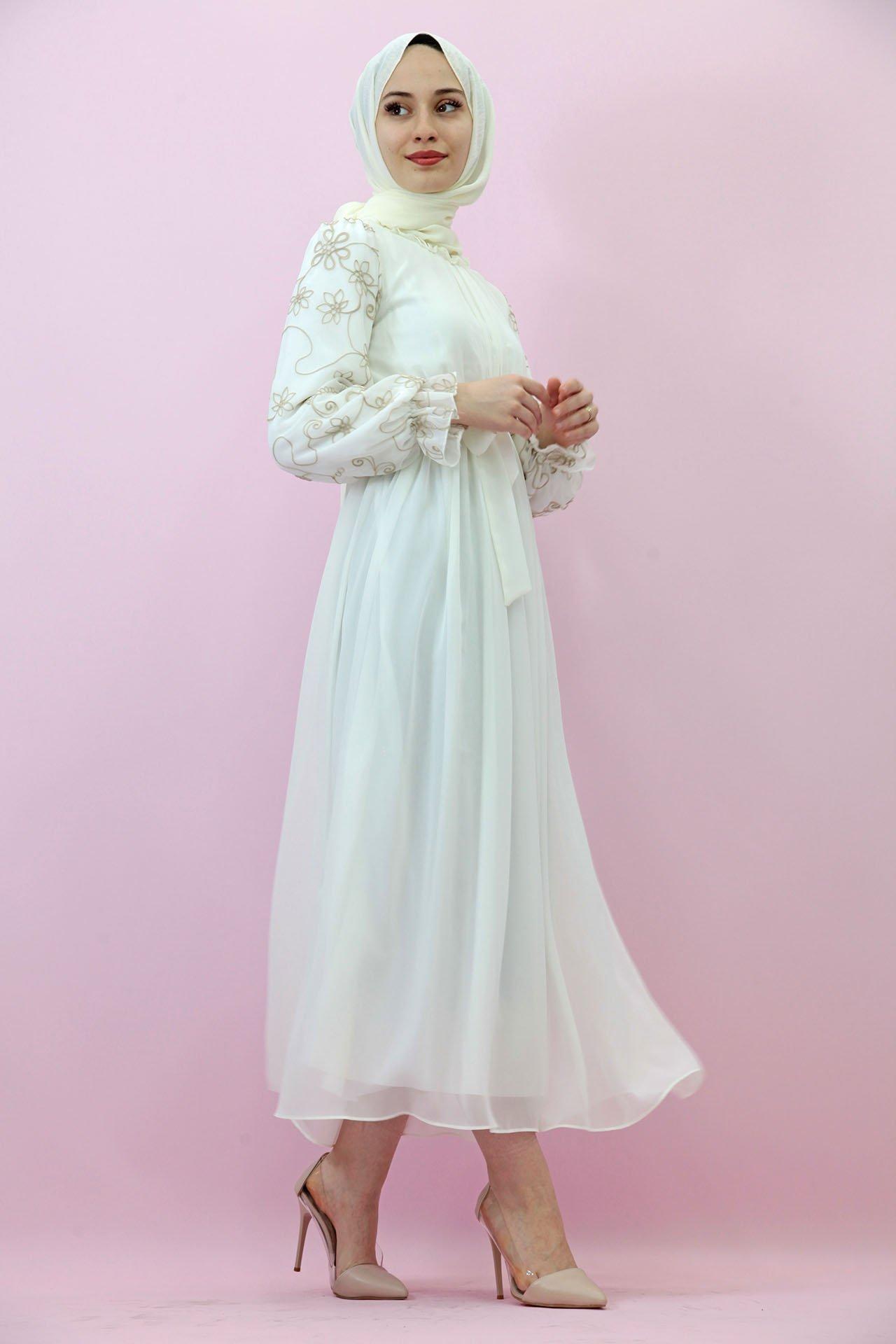 GİZAGİYİM - Kolları İşlemeli Şifon Elbise Beyaz