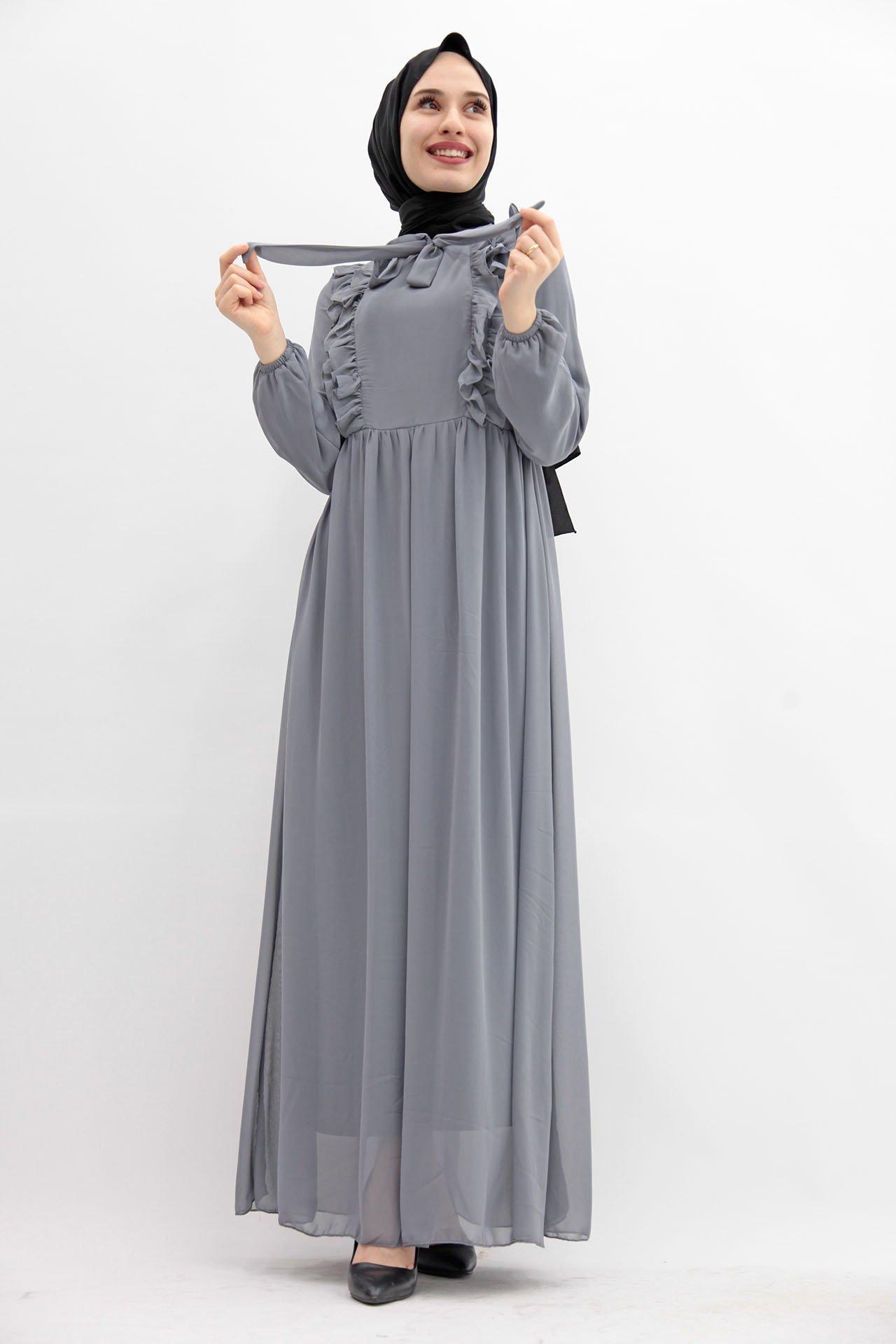GİZAGİYİM - Fırfırlı Şifon Tesettür Elbise Gri