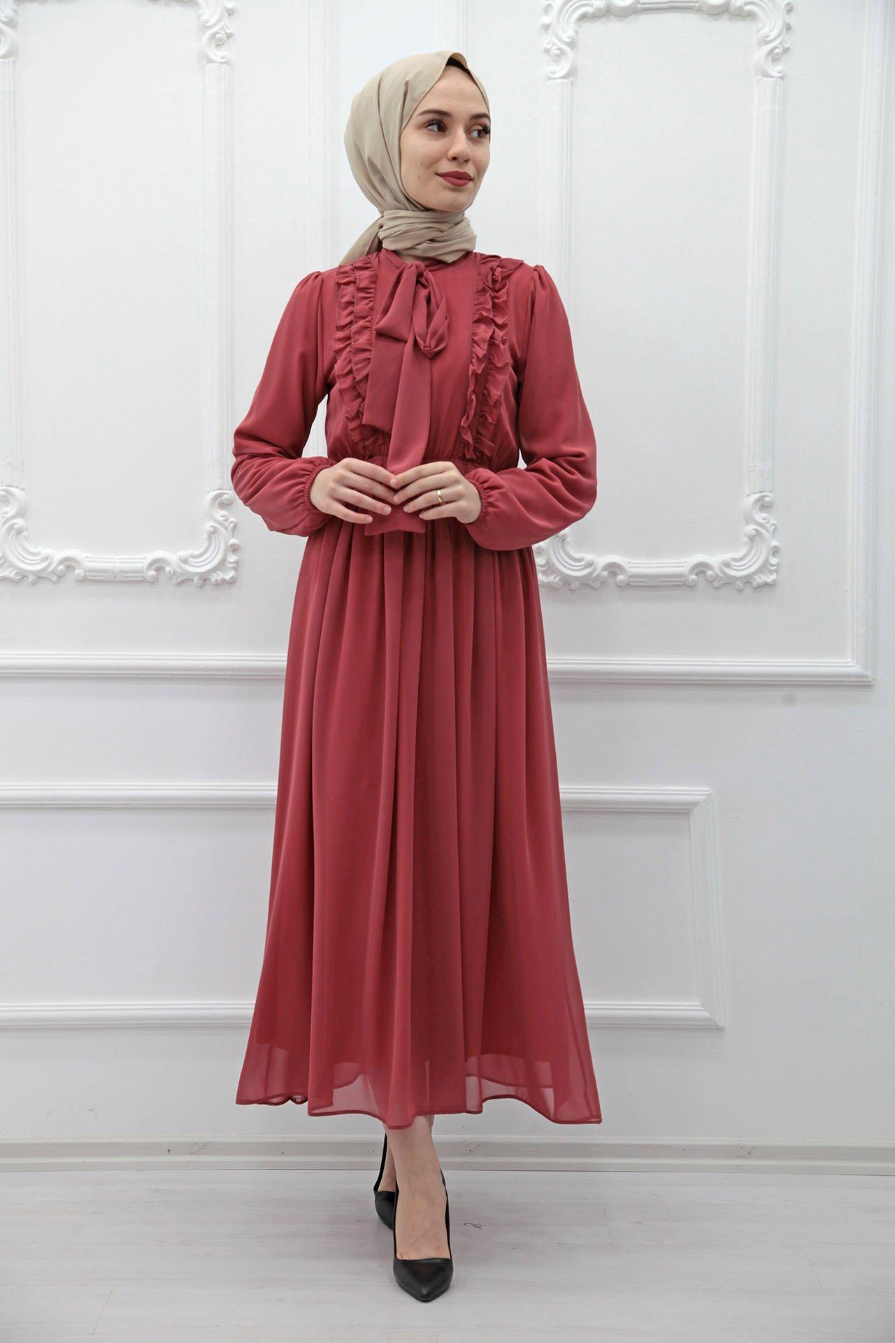 GİZAGİYİM - Fırfırlı Şifon Tesettür Elbise Pembe