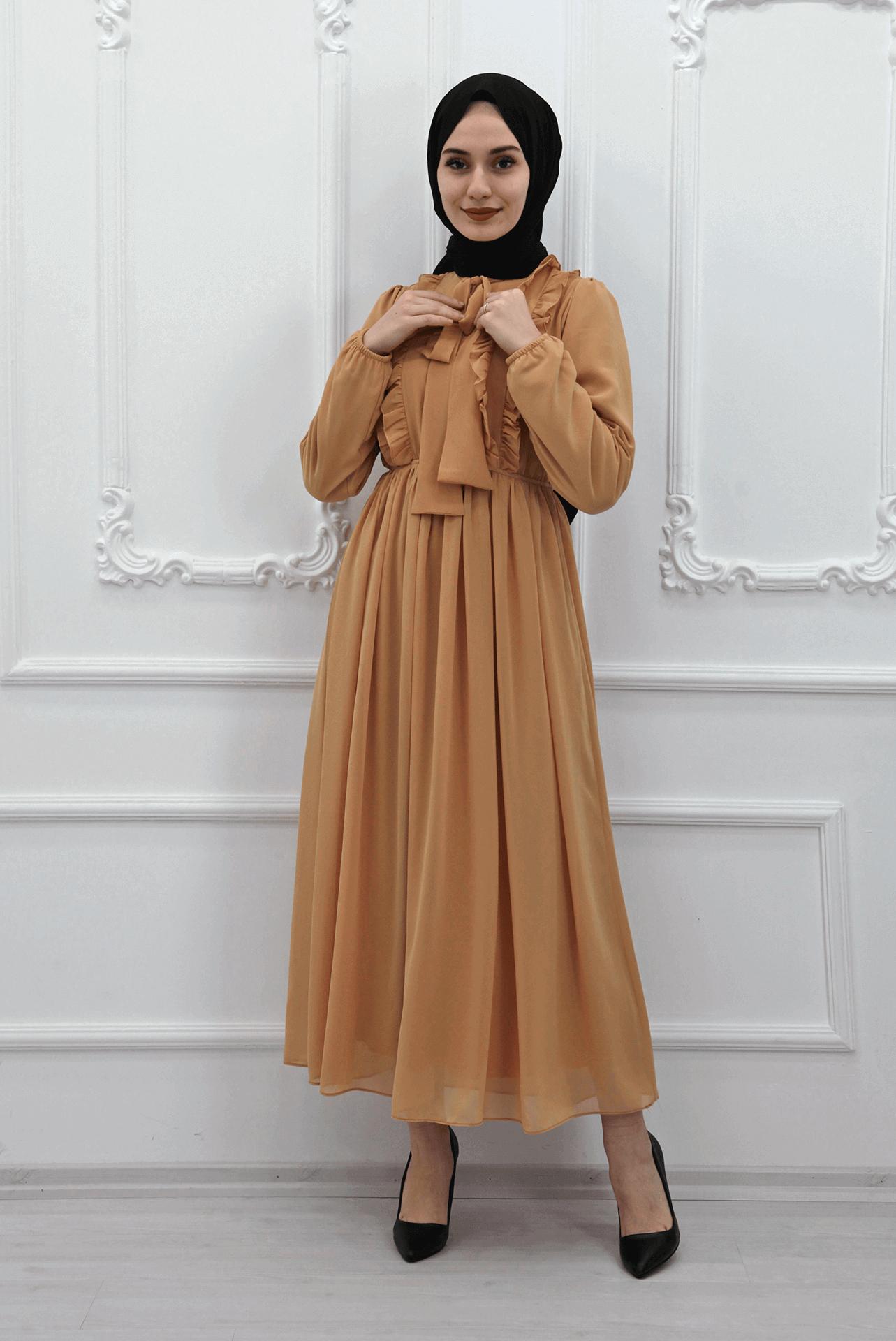 GİZAGİYİM - Fırfırlı Şifon Tesettür Elbise Sarı
