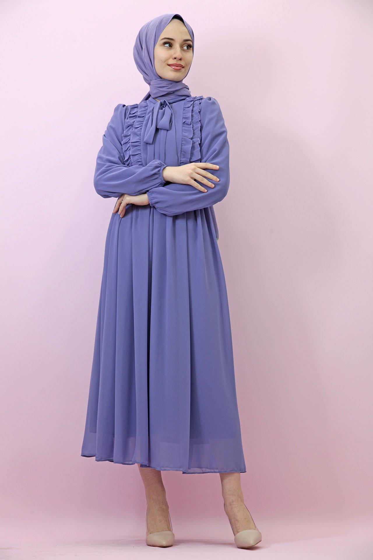 GİZAGİYİM - Fırfırlı Şifon Tesettür Elbise Serenity